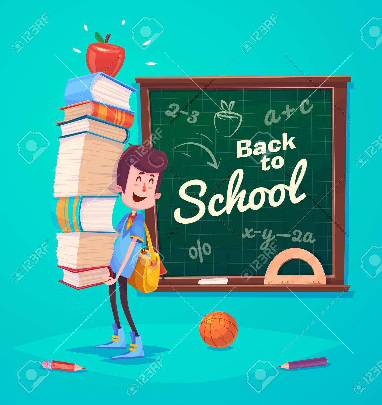 かわいい学校の子供たち。学校の活動。学校に戻るには、青い背景上の