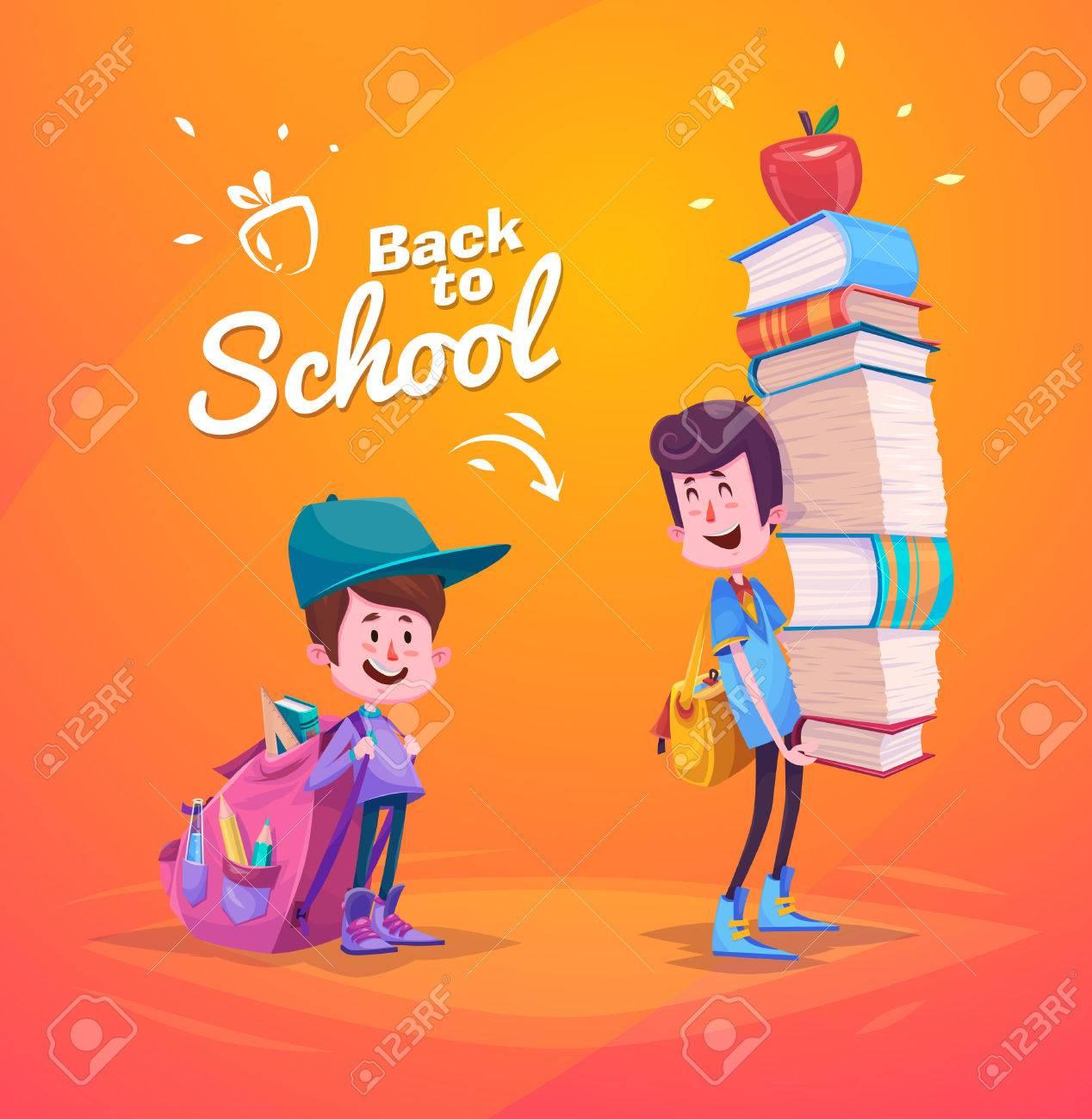 かわいい学校の子供たち。学校の活動。学校に戻るには、黄色の背景上の