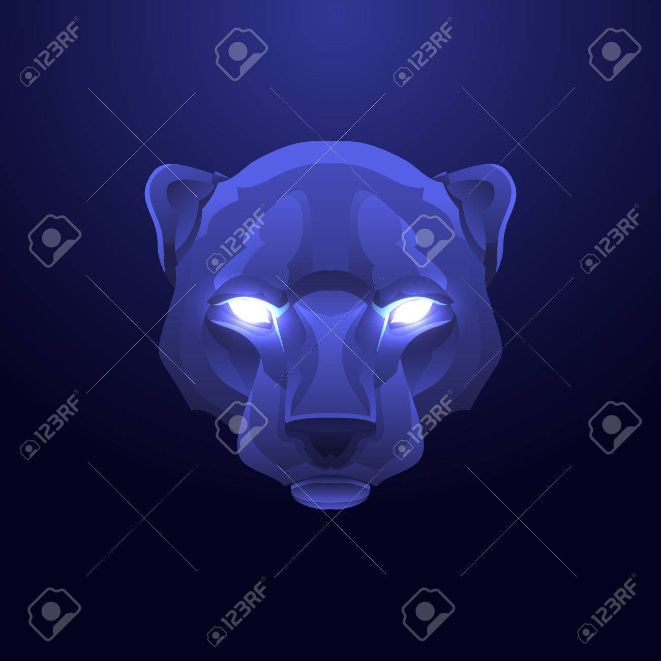 Panther Head Vintage label. Retro vector design graphic element. This is vector illustration ideal for a mascot and tattoo or T-shirt graphic. - 44787106
