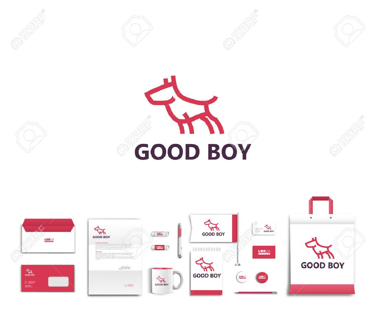 White corporate id template design with cute dog logo. Documentation for business. Eps 10 - 45266182