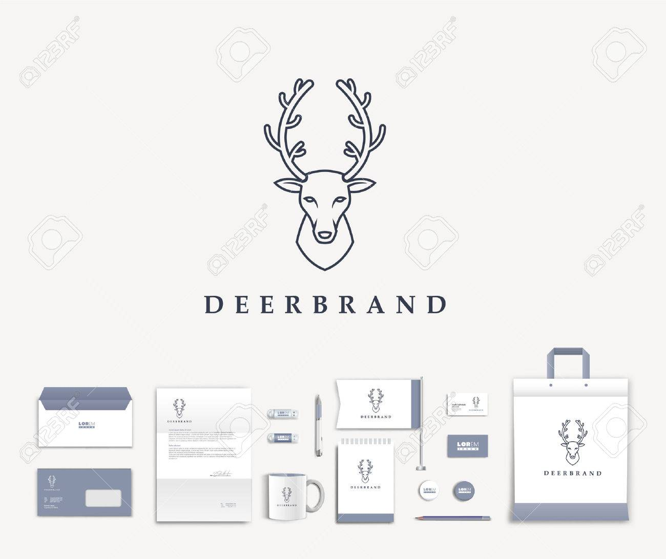 White corporate id template design with cute deer logo. Documentation for business. Eps 10 - 45266661