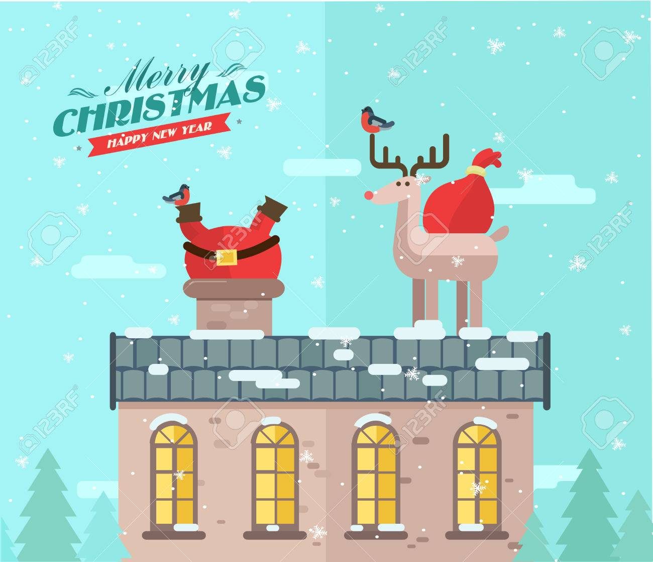 Merry christmas. vector winter background. Santa on the roof - 46453279