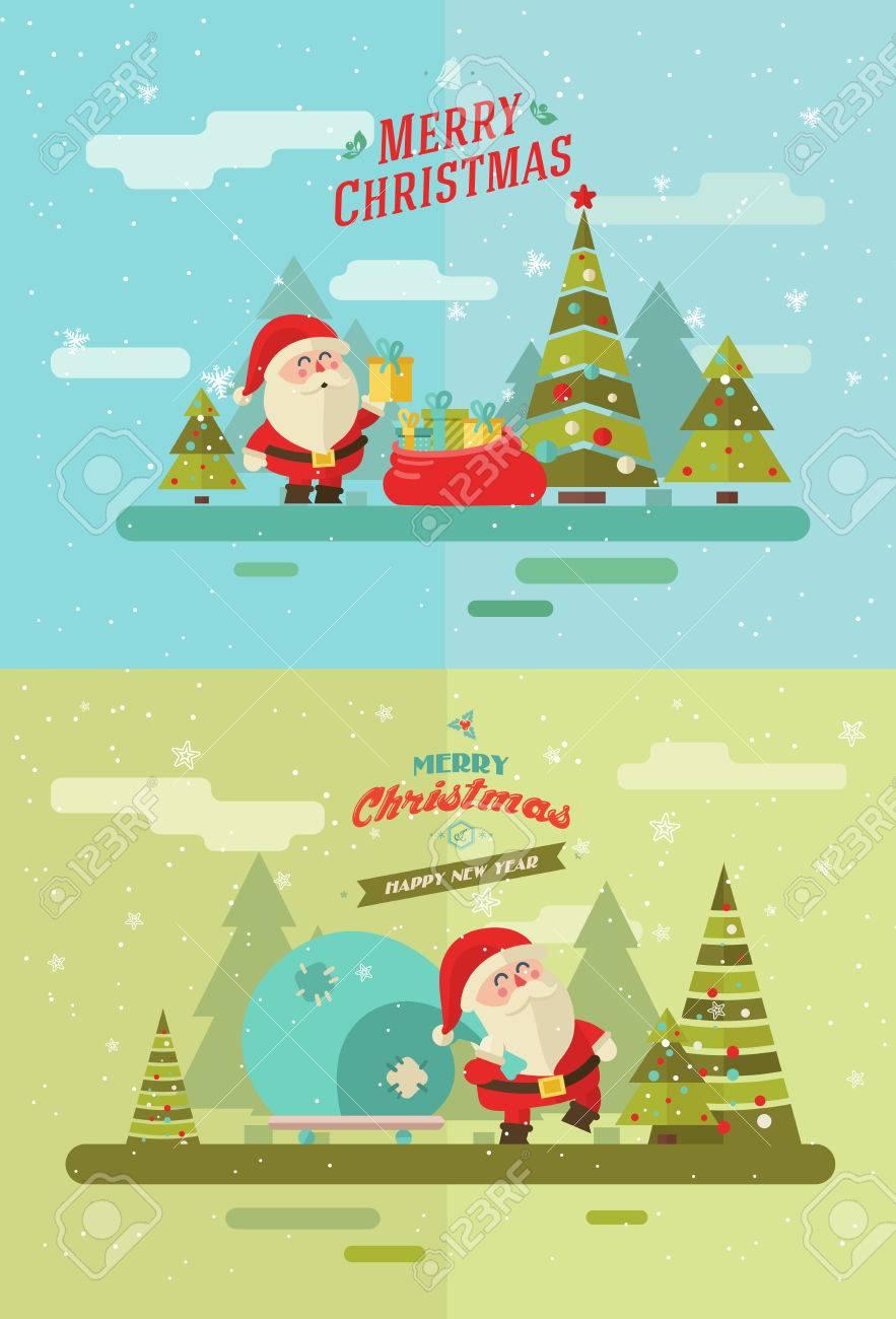 Merry christmas. vector winter background. Santas set - 46453282