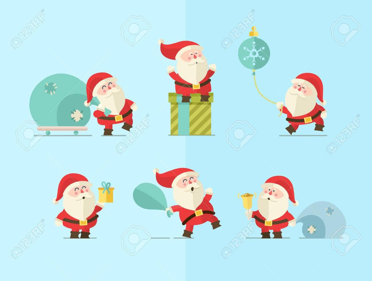 Merry christmas. vector winter background. Santas set - 46453283