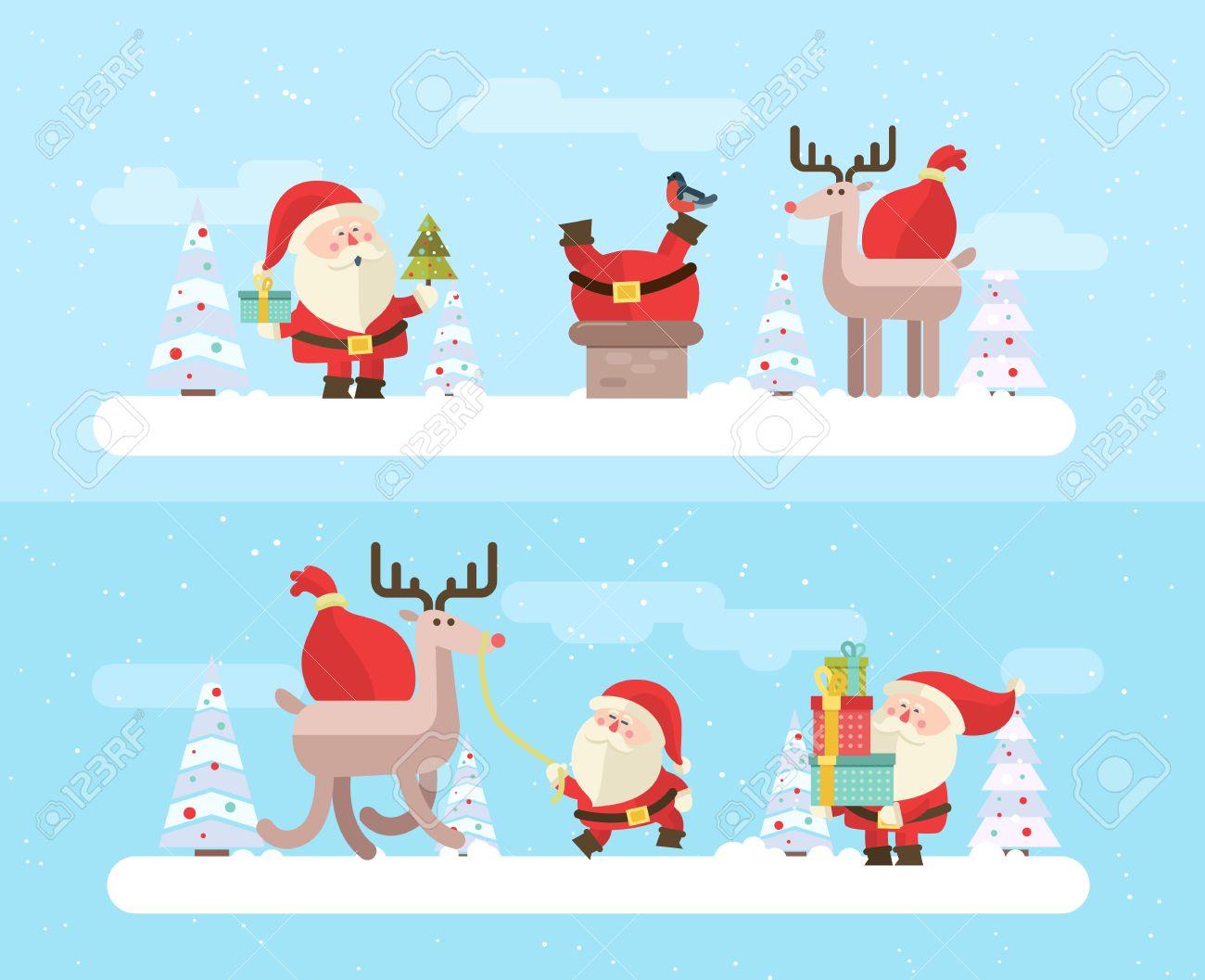 Merry christmas. vector winter background. Santas set - 46453289