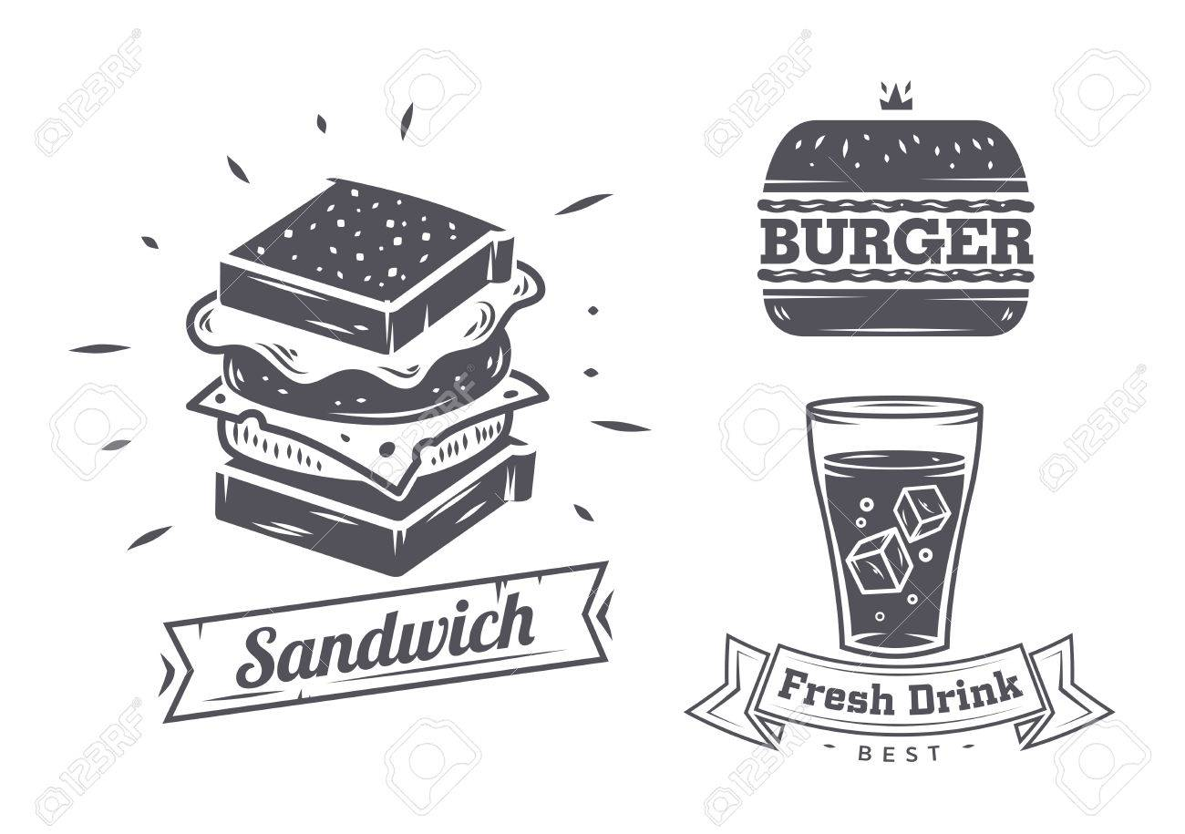 Burger, sandwich and hotdog icons, labels, signs, symbols and design elements. Vector collection of fast food badges. - 47405876