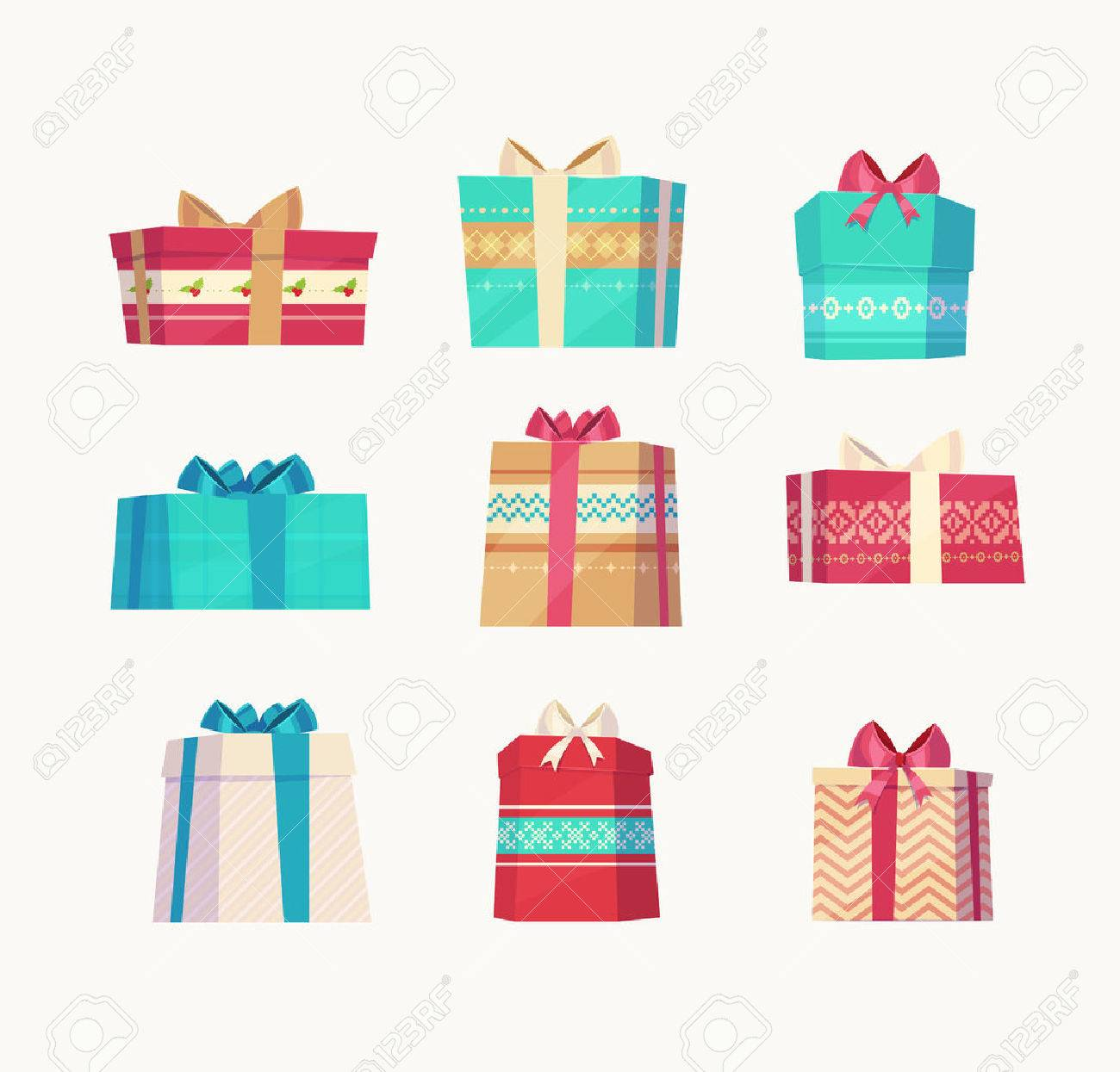 Christmas gifts set on white background. Christmas card poster banner. Vector illustration. - 47724466