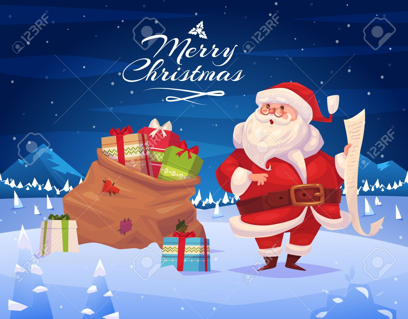 Funny Santa With Presents. Christmas Greeting Card Background ...