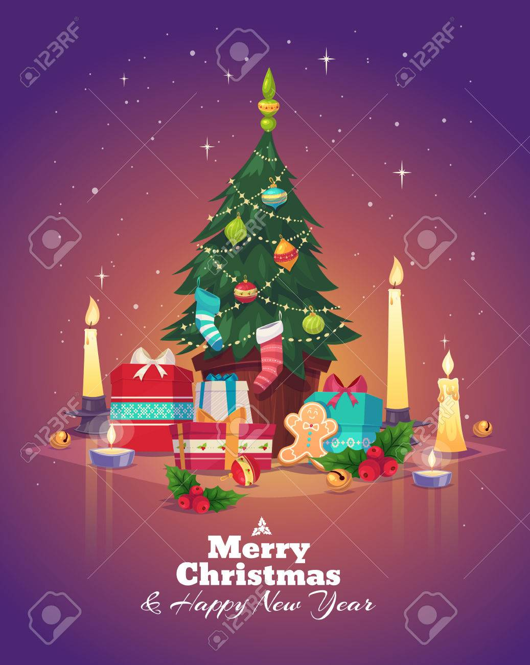 Christmas tree and gifts. Christmas greeting card background poster. Vector illustration. Merry christmas and Happy new year. - 47724475