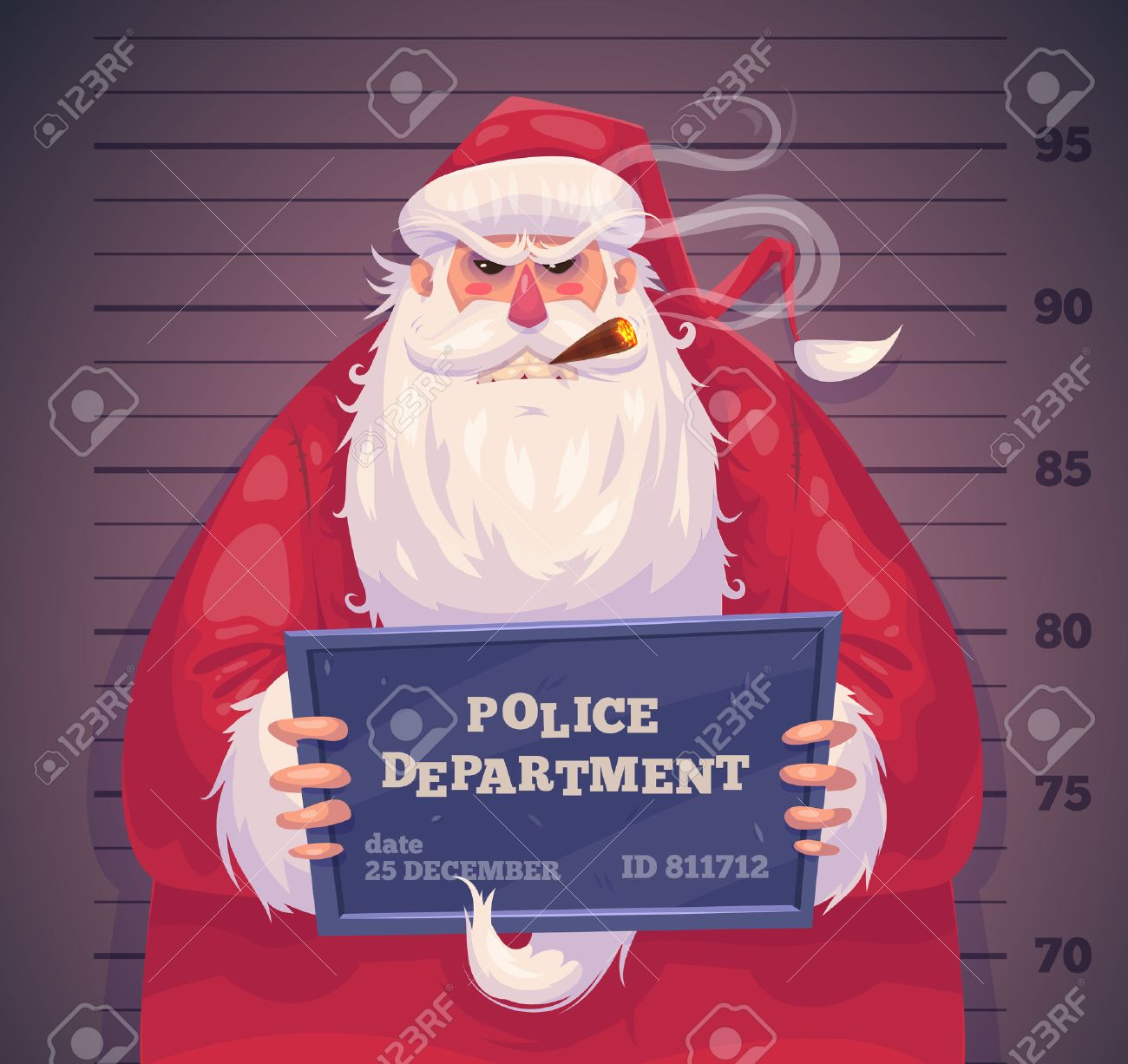 Bad Santa in police department. Christmas greeting card background poster. Vector illustration. Merry christmas and Happy new year. - 48707994