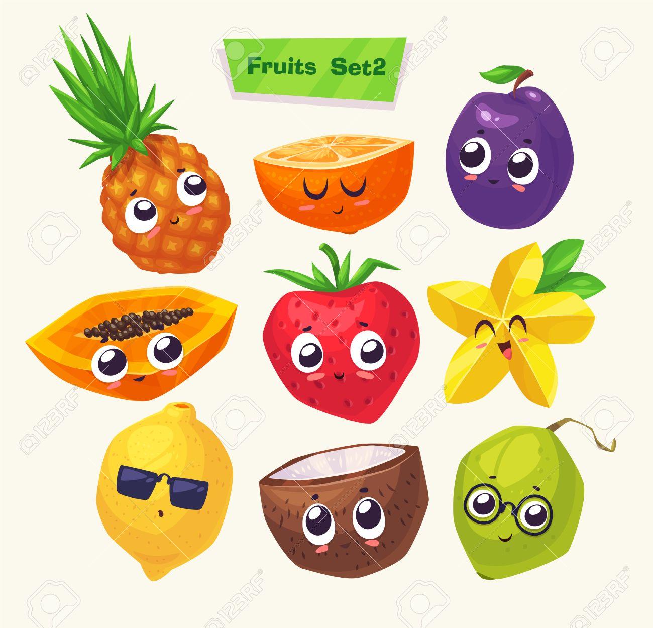 面白いかわいい果物のセットです。面白い食べ物です。漫画イラスト