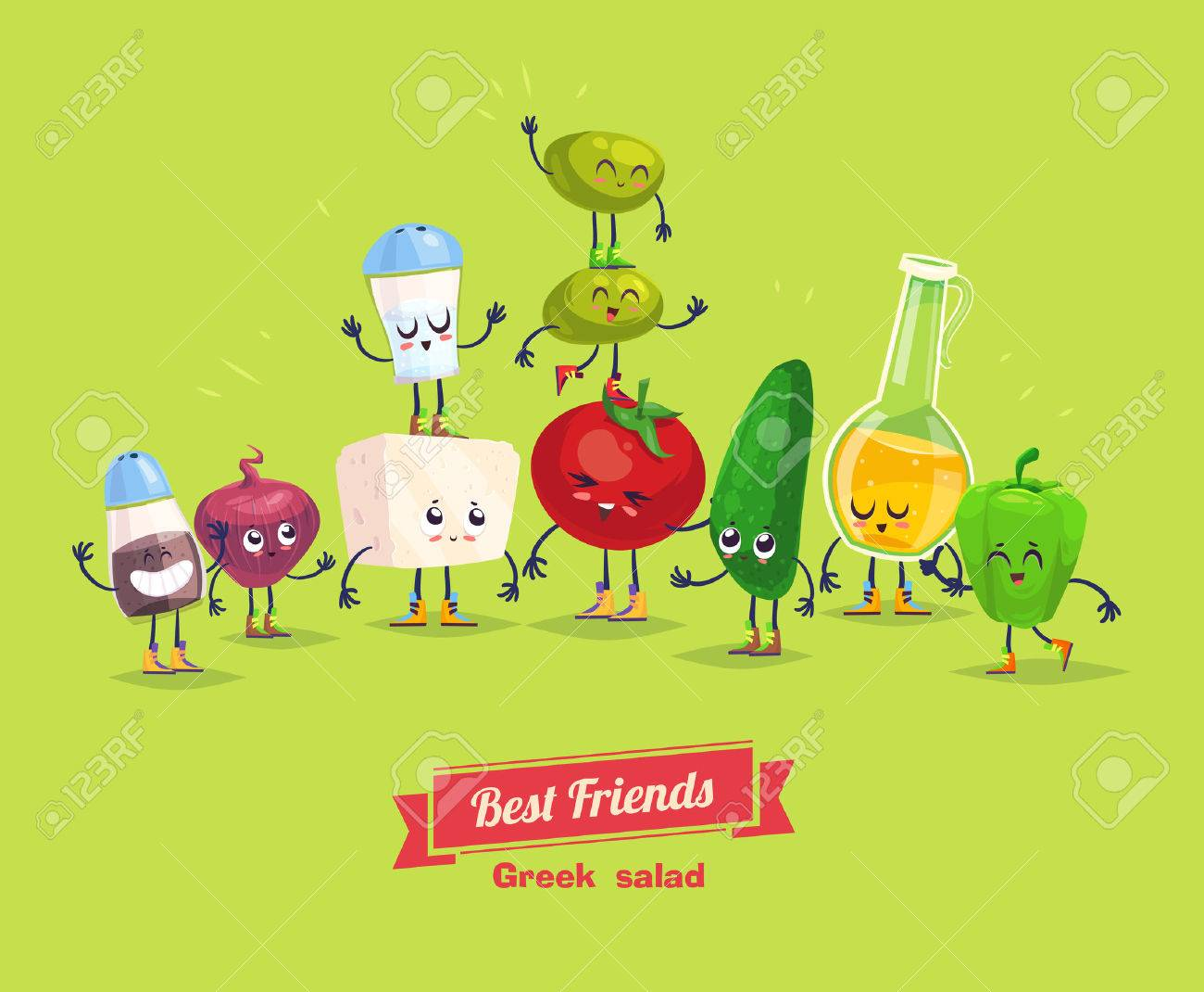 Greek salad. Cute and funny cartoon vegetable characters with olive oil. Best friends set. - 50040566