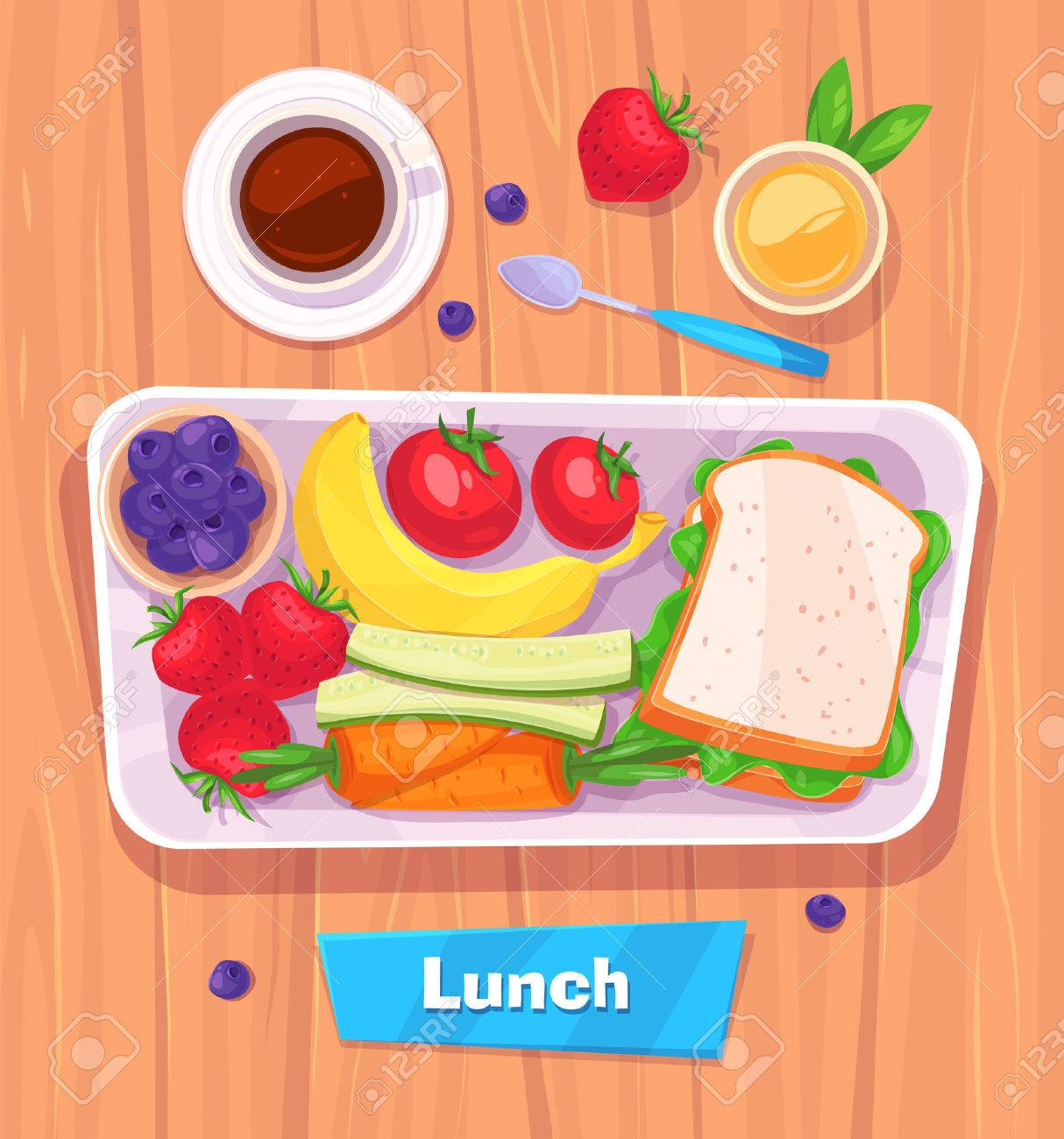 Healthy lunch with banana. berries, sandwich, coffee and juice. View from above on stylish wooden table with copy space. - 50040570