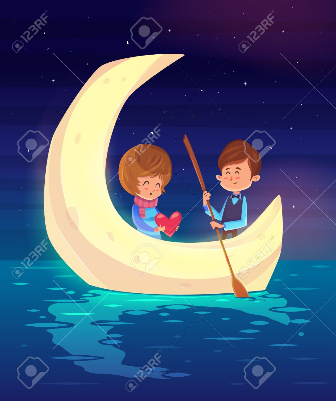 Couple girl and boy sitting in a boat on the background of the moon. Modern design stylish illustration. Retro flat background. Valentines Day Card. - 50571075