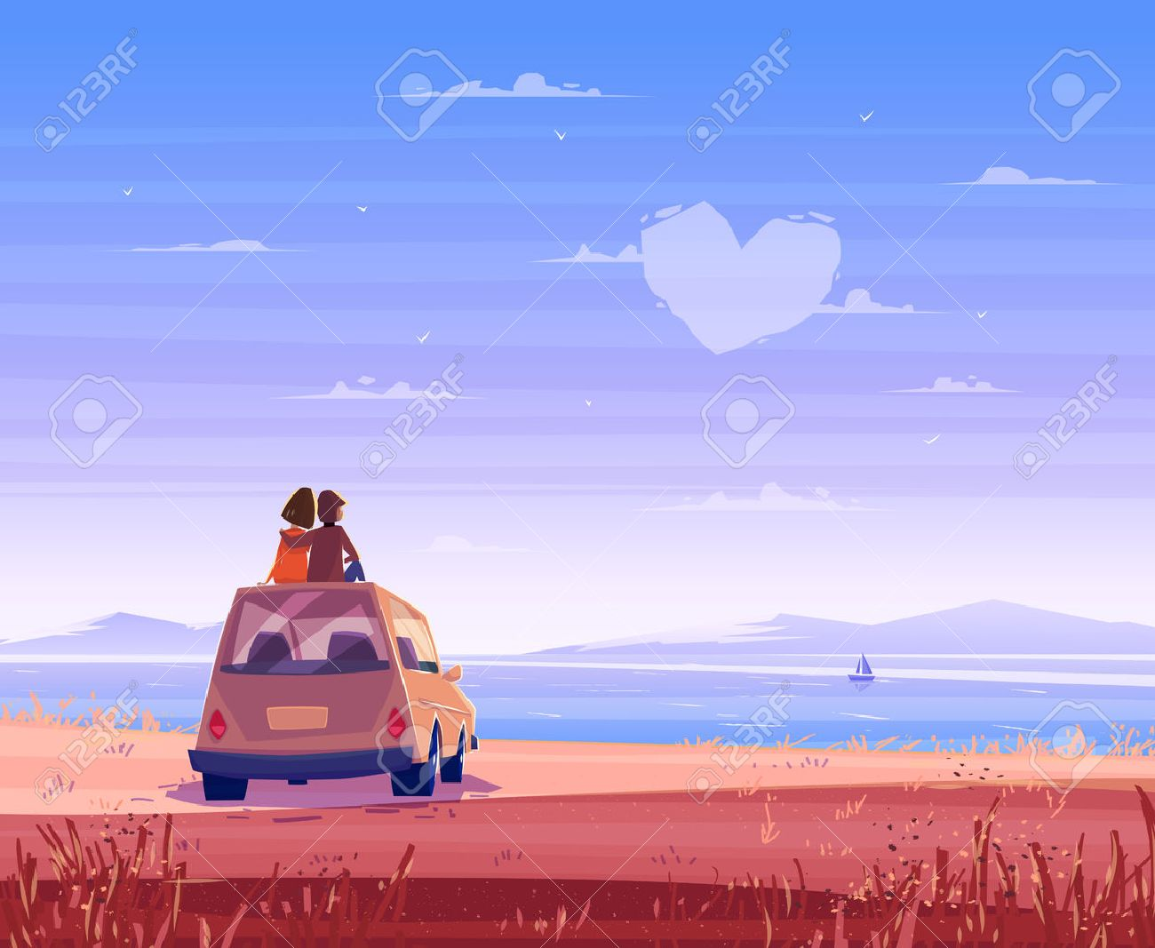 Two Happy lovers sitting on the roof of the car and look at the sea. Modern design stylish illustration. Retro flat background. Valentines Day Card. - 50571073