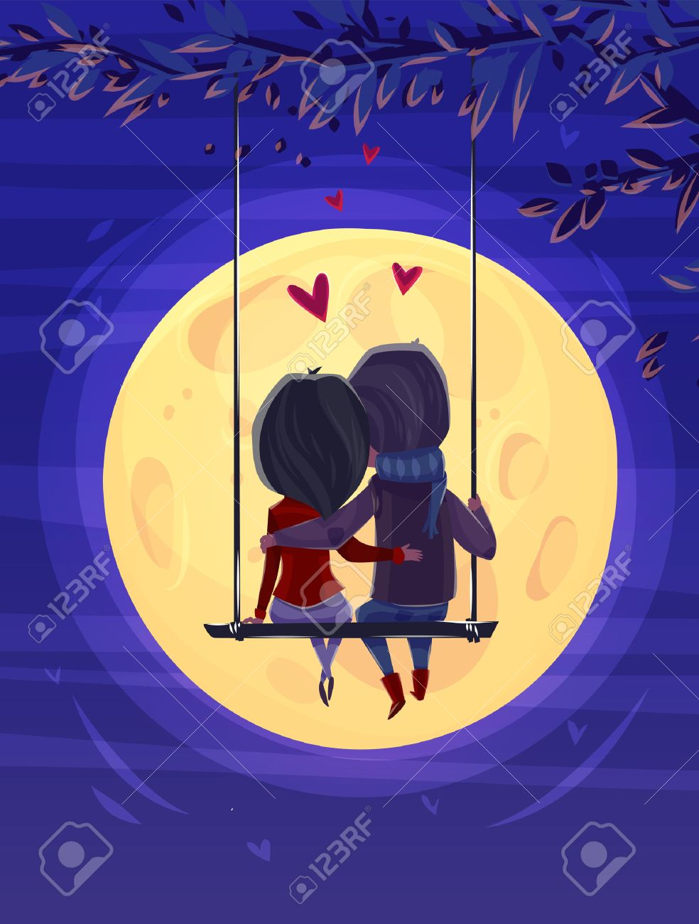 Two lovers sitting on the swing on the moon background. Modern design stylish illustration. Retro flat background. Valentines Day Card. - 50571078
