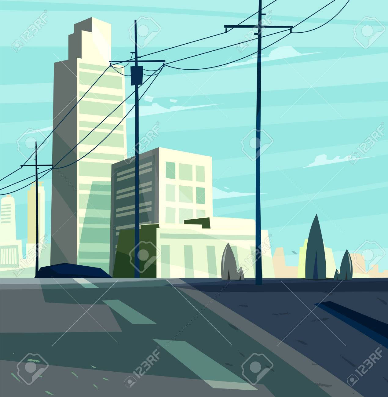 Vector beautiful sunrise over cartoon city with highway. Cityscape with sun light. Cute modern architecture. - 51876598