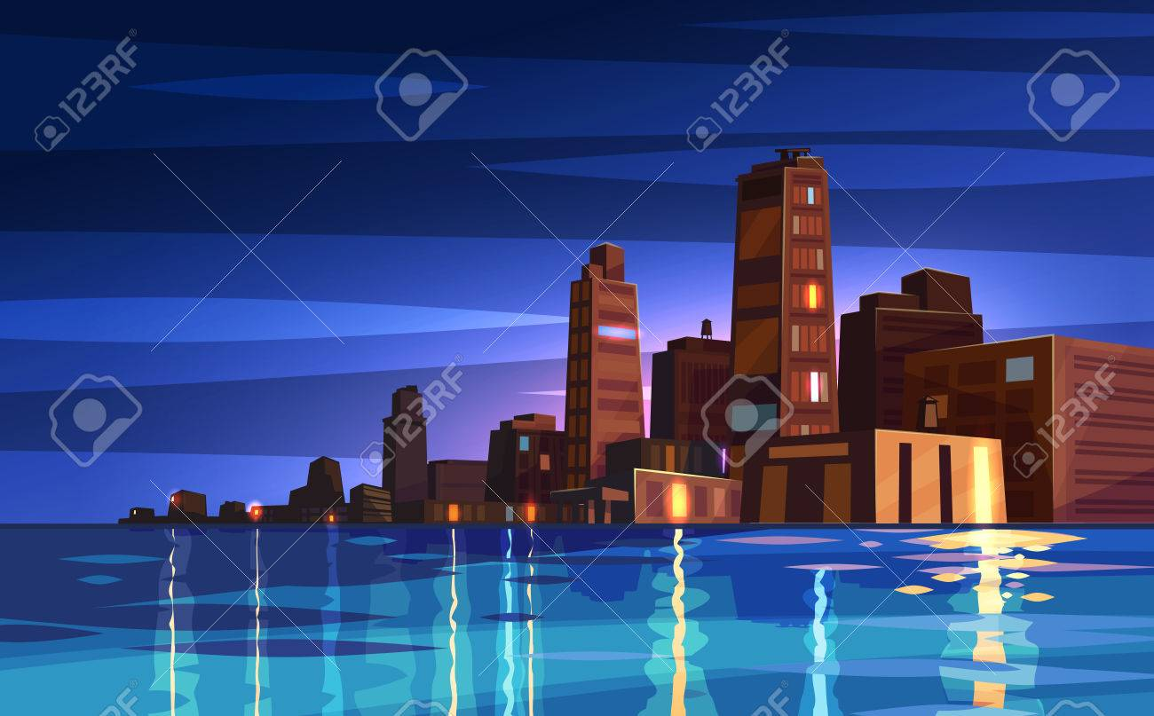 Vector beautiful night cartoon city with river or ocean. Cityscape with moon light. Cute modern architecture. Stock illustration - 51876662