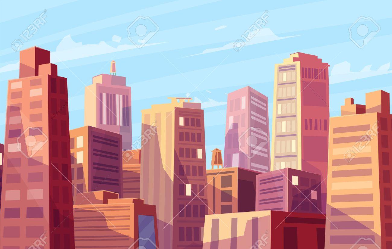 Vector beautiful sunshine over cartoon city. Cityscape with sun light. Cute modern architecture. Vector stock illustration. - 51896504