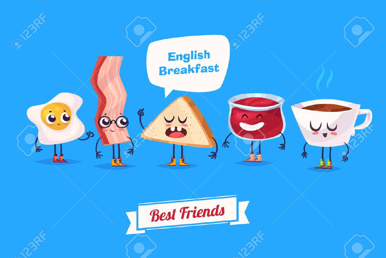 Breakfast. Funny characters egg bacon bread coffee and jam . Best friends set. - 52177589