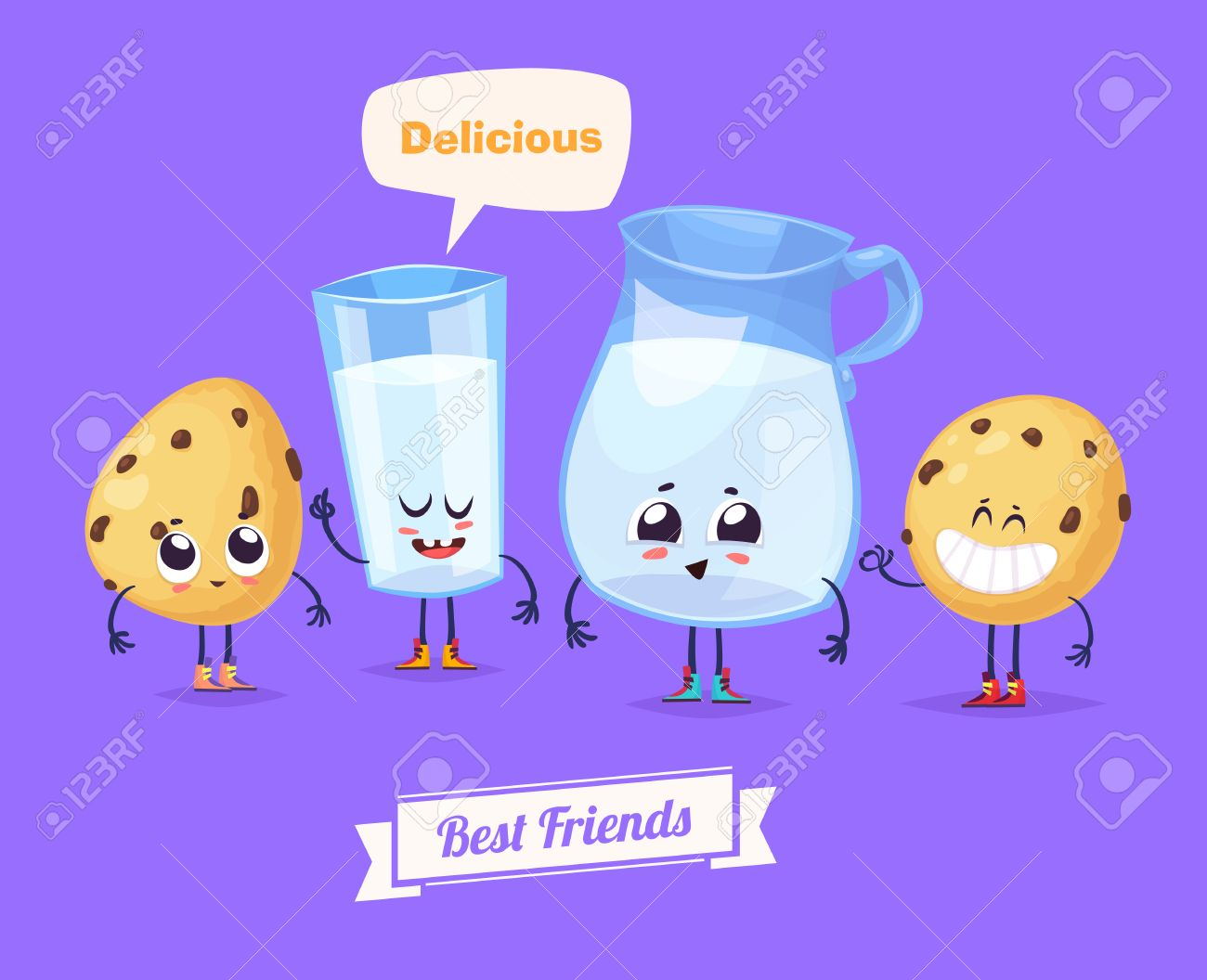 Best friends. Funny characters milk and cookies. Funny food. Foto de archivo - 52177703