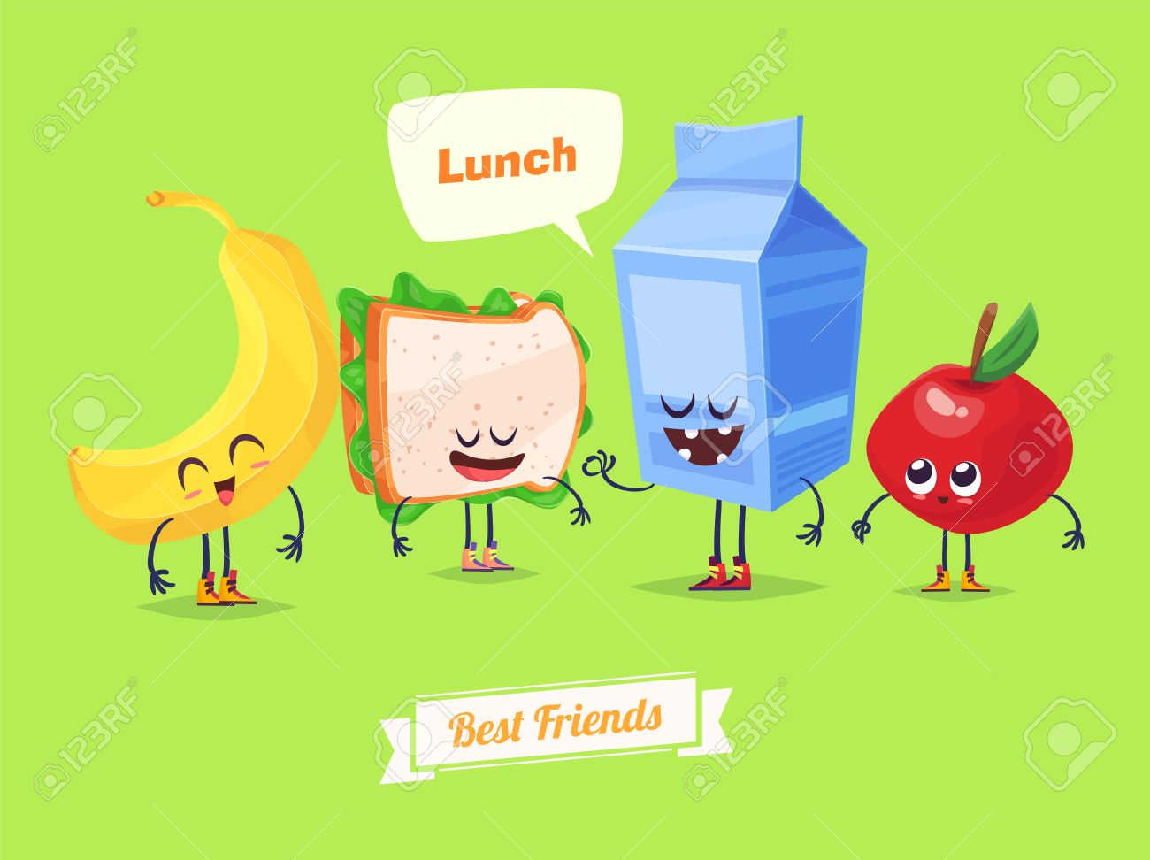Best friends. Funny characters banana sandwich milk and apple. Funny food. - 52177706