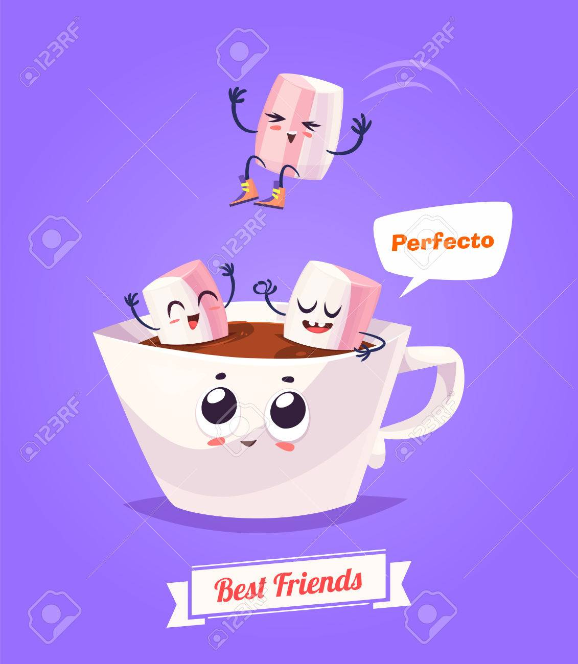 Healthy Breakfast. Funny characters zephyr and cup of coffee. Funny food. - 52177840