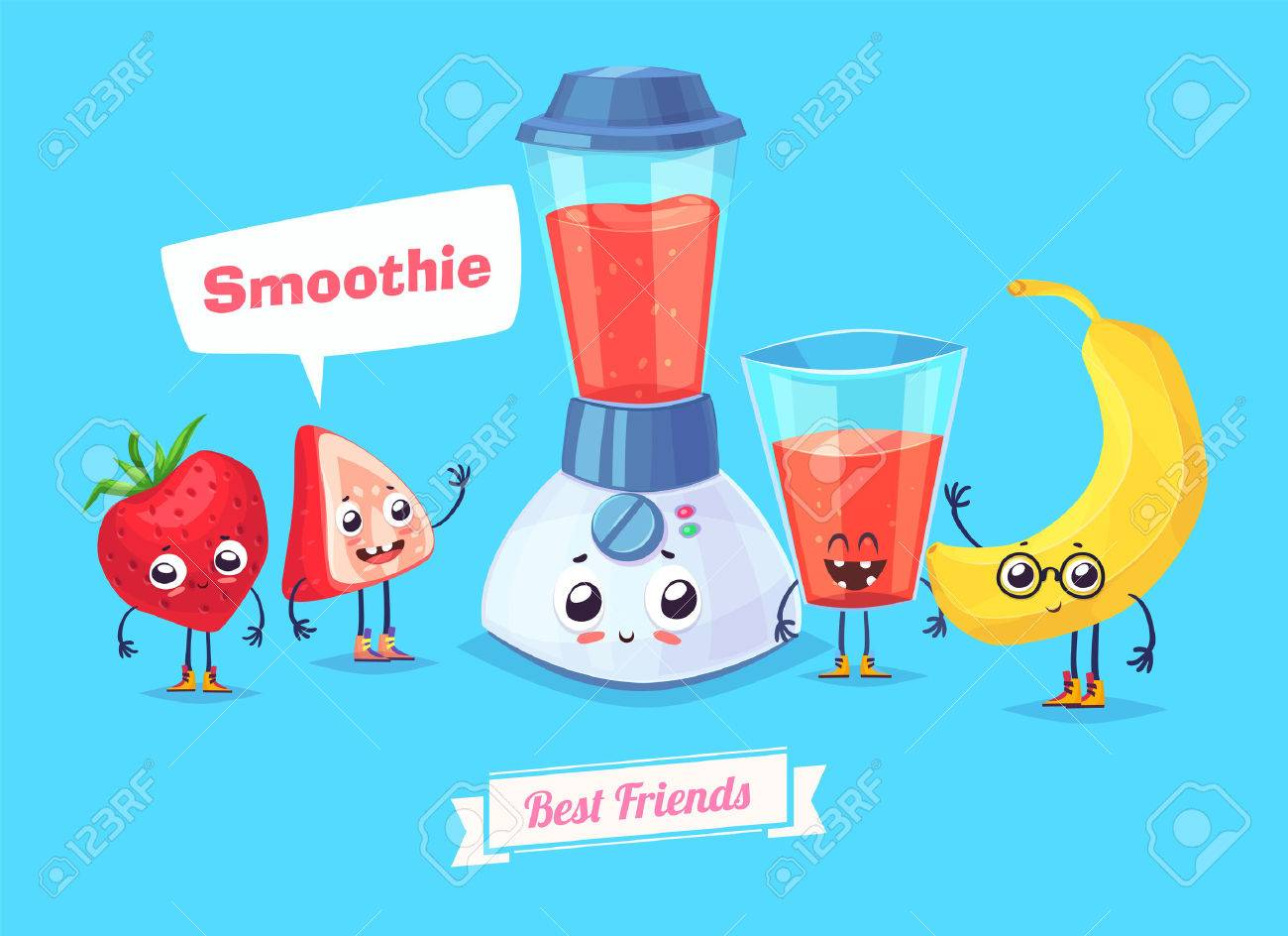 Healthy Breakfast. Funny characters banana berry and a glass of smoothie. Funny food. - 52177849
