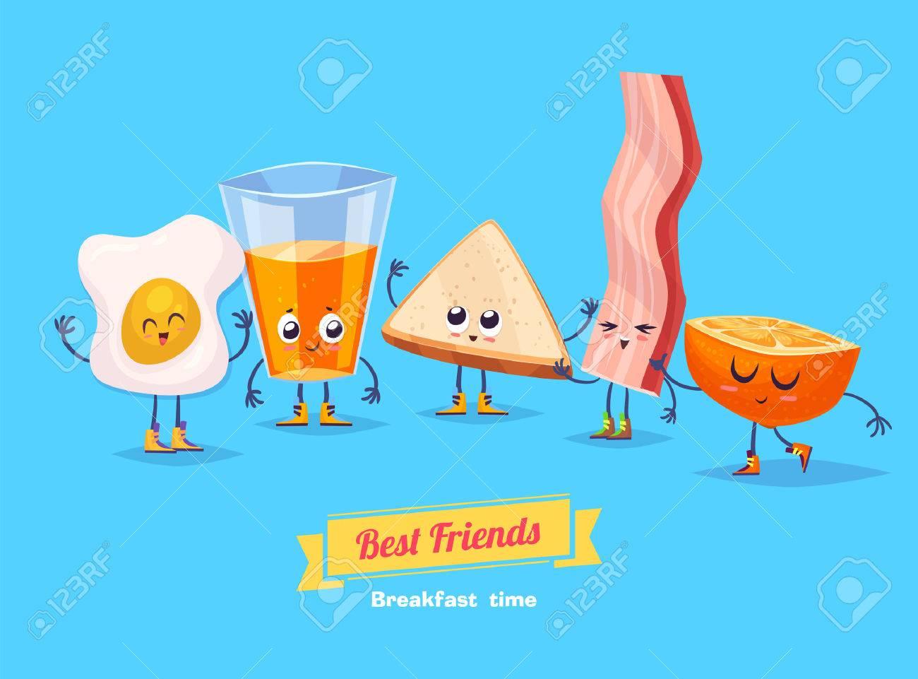 Breakfast. Funny characters egg bacon bread coffee and orange juice . Best friends set. - 52178216