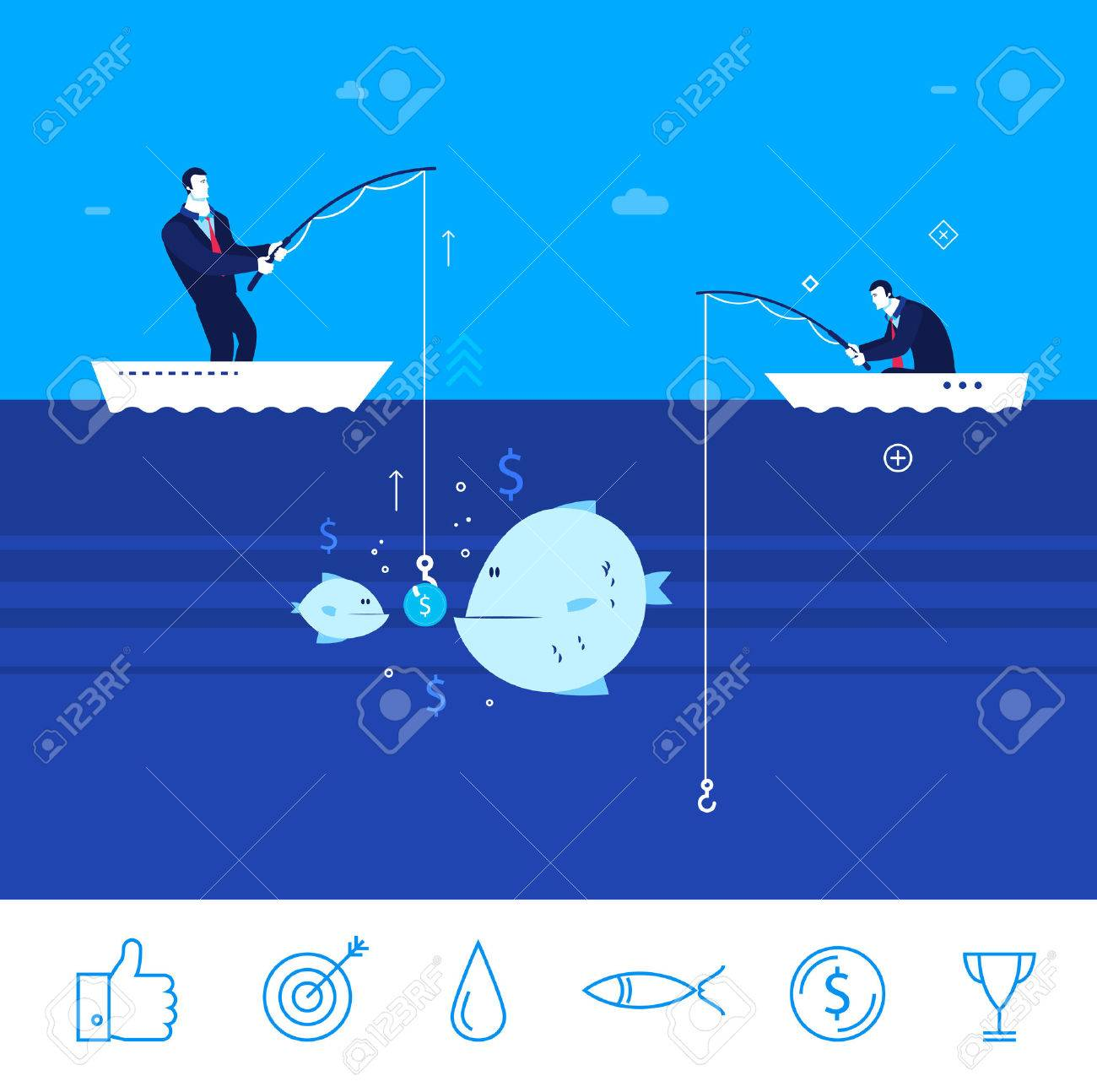 Flat design concept illustration. Two businessman on fishing. good production. Good profit. Unsuccessful catch. clipart. Icons set. - 54303016