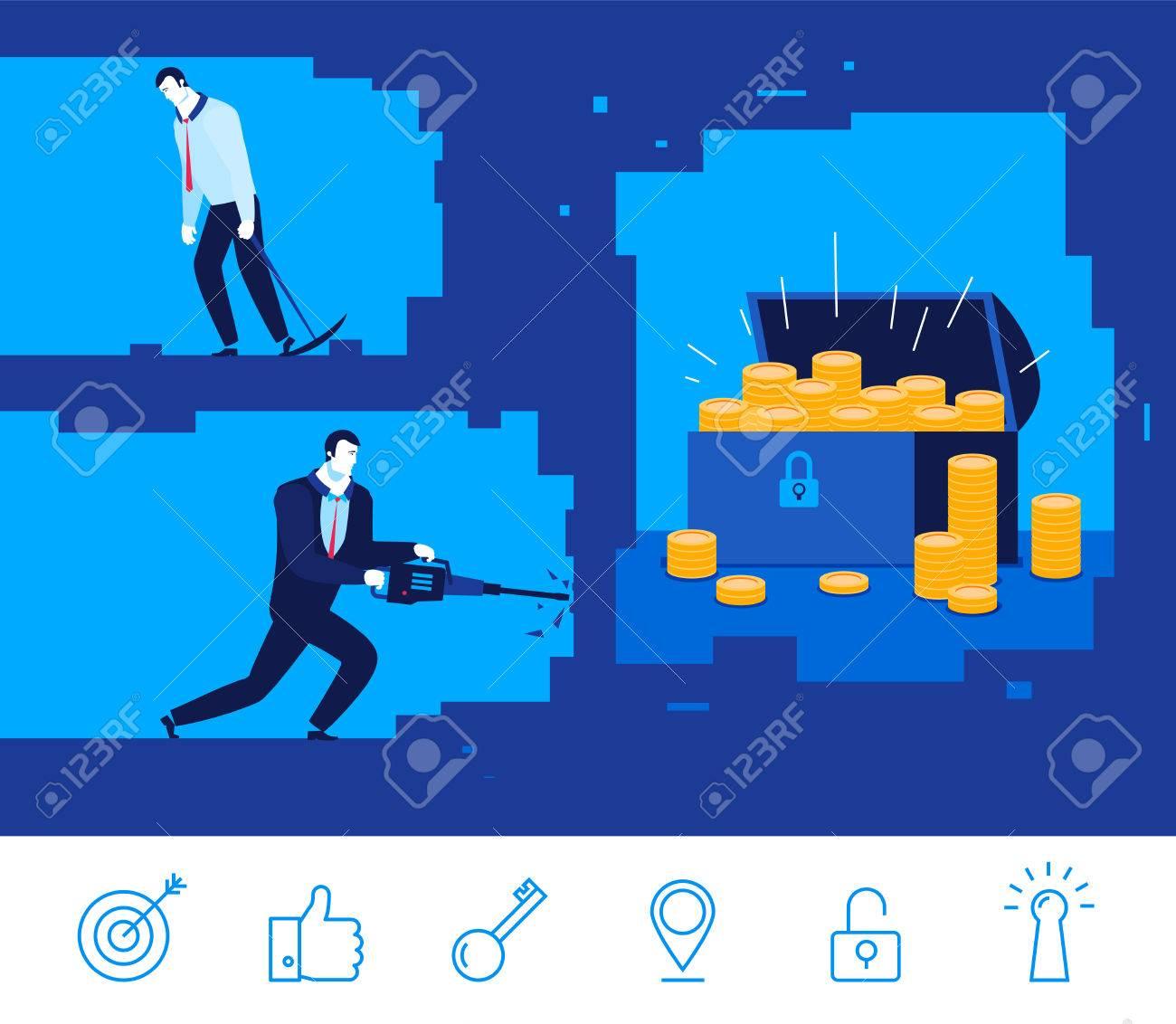 Flat design concept illustration. Two businessman digging the ground. Good profit. Unsuccessful catch. clipart. Icons set. - 54303021