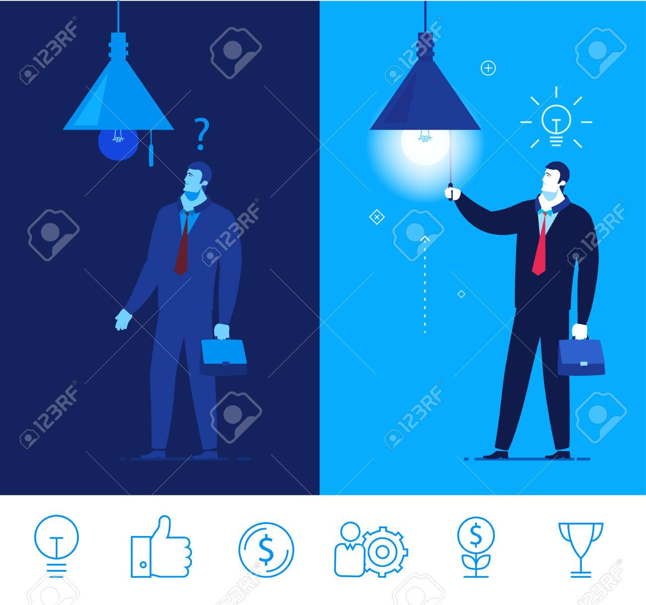 Flat design concept illustration. Businessman standing in the dark and did not know what to do. Businessman turns on the light, and to him the idea comes. Good profit. clipart. Icons set. turn on the light. - 54303026