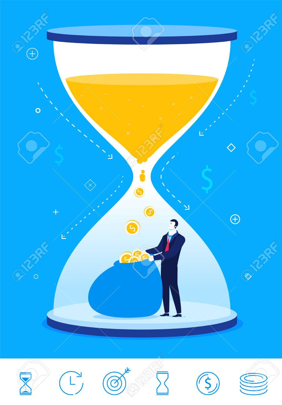 Flat design concept illustration. time is money. Businessman turns time into money. clipart. Icons set. - 54303251