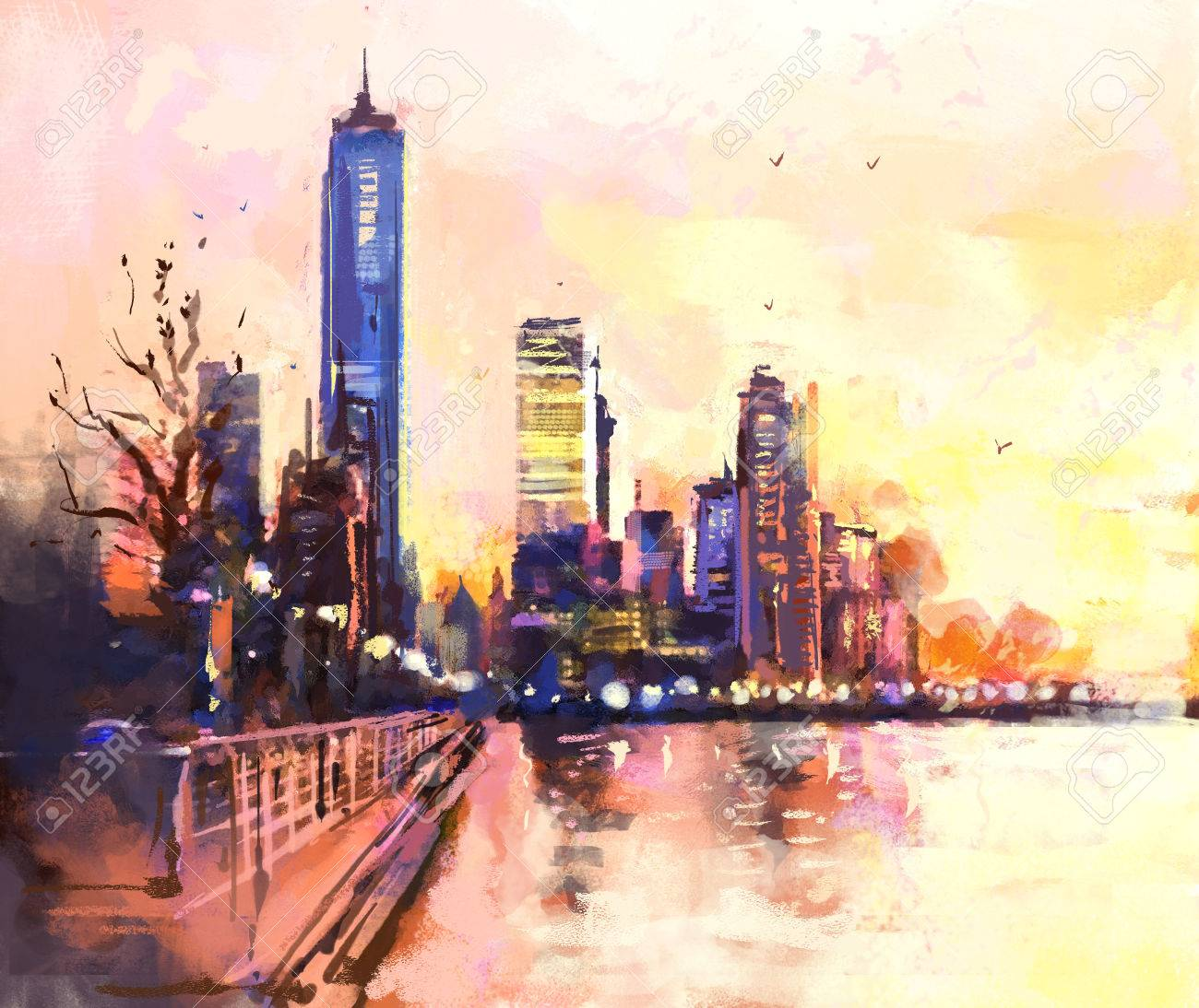 Digital painting of city with skyscraper and ocean at sunset. Rastr stock llustration - 54303255