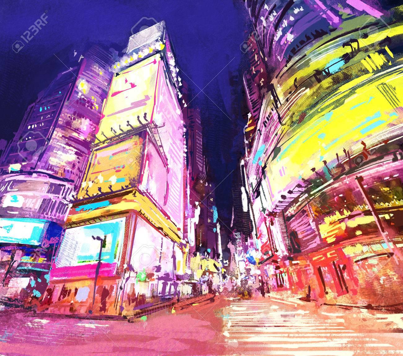 夜の高層ビルと都市のデジタル絵画ショップのネオン街rastr ストック