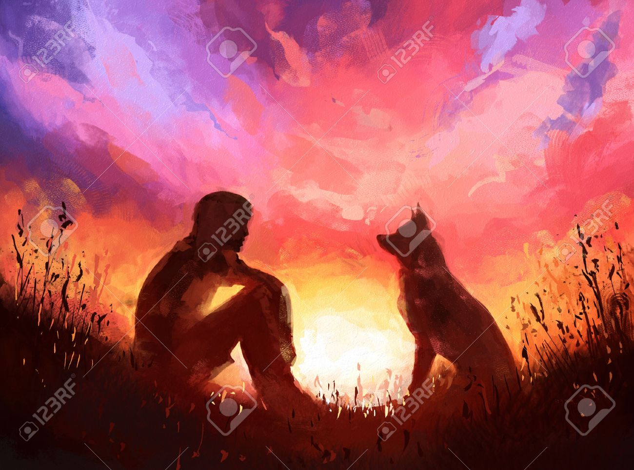 Digital painting of man and his dog sitting on a sunset background. Rastr stock llustration - 54303265