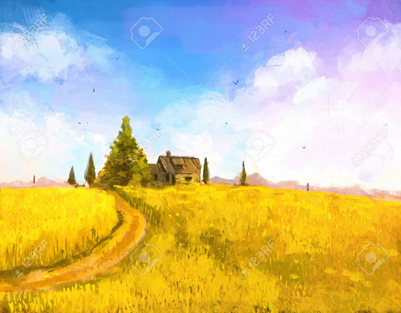 Digital painting of vacation at sea. farm or country house in the sunset. Autumn landscape with farm house on hill. Rastr stock llustration - 54303384