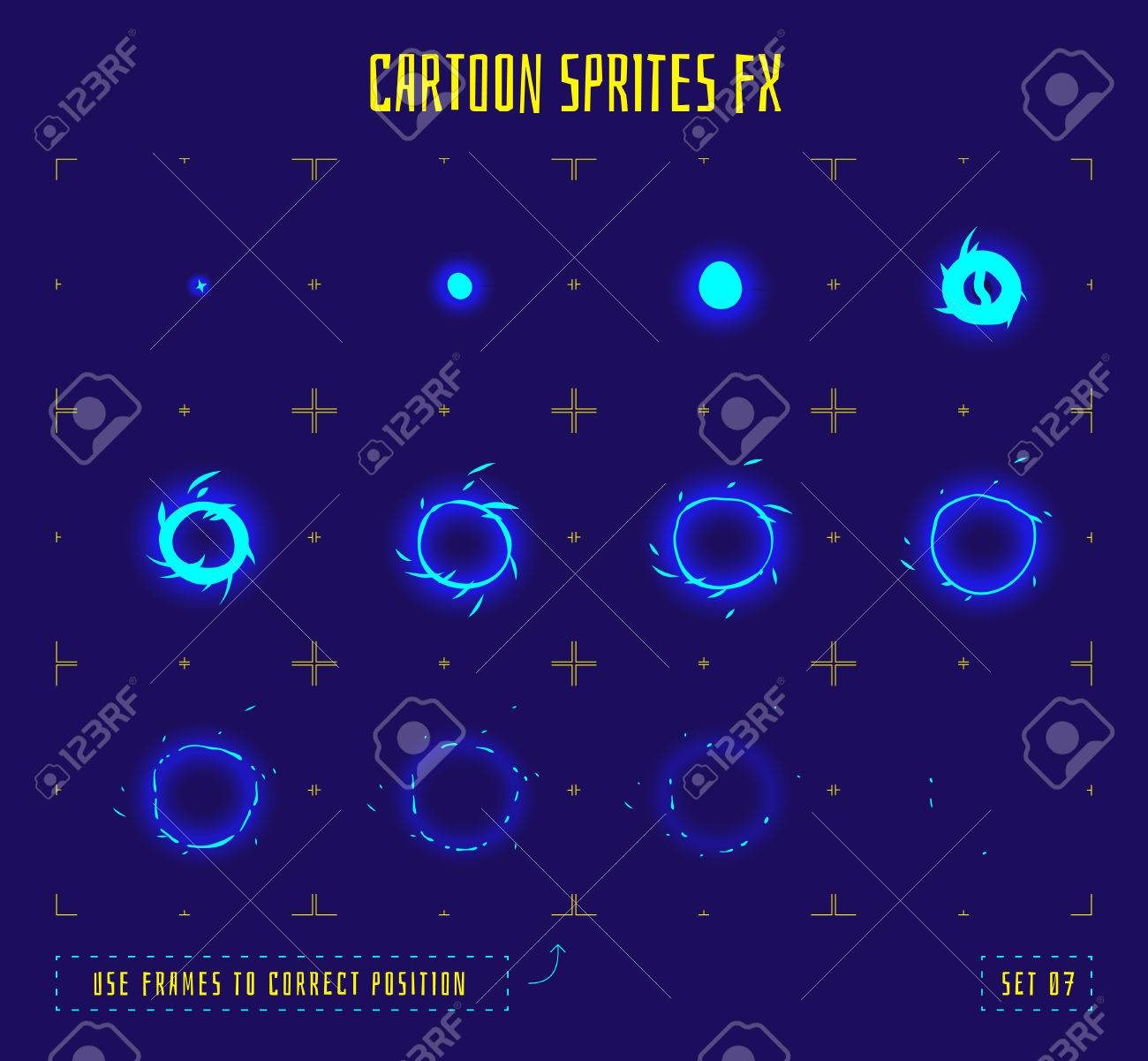 Energy ring explosion sprites or animation frames icons. Use in game development, mobile games or motion graphic. Vector illustration. - 58783160