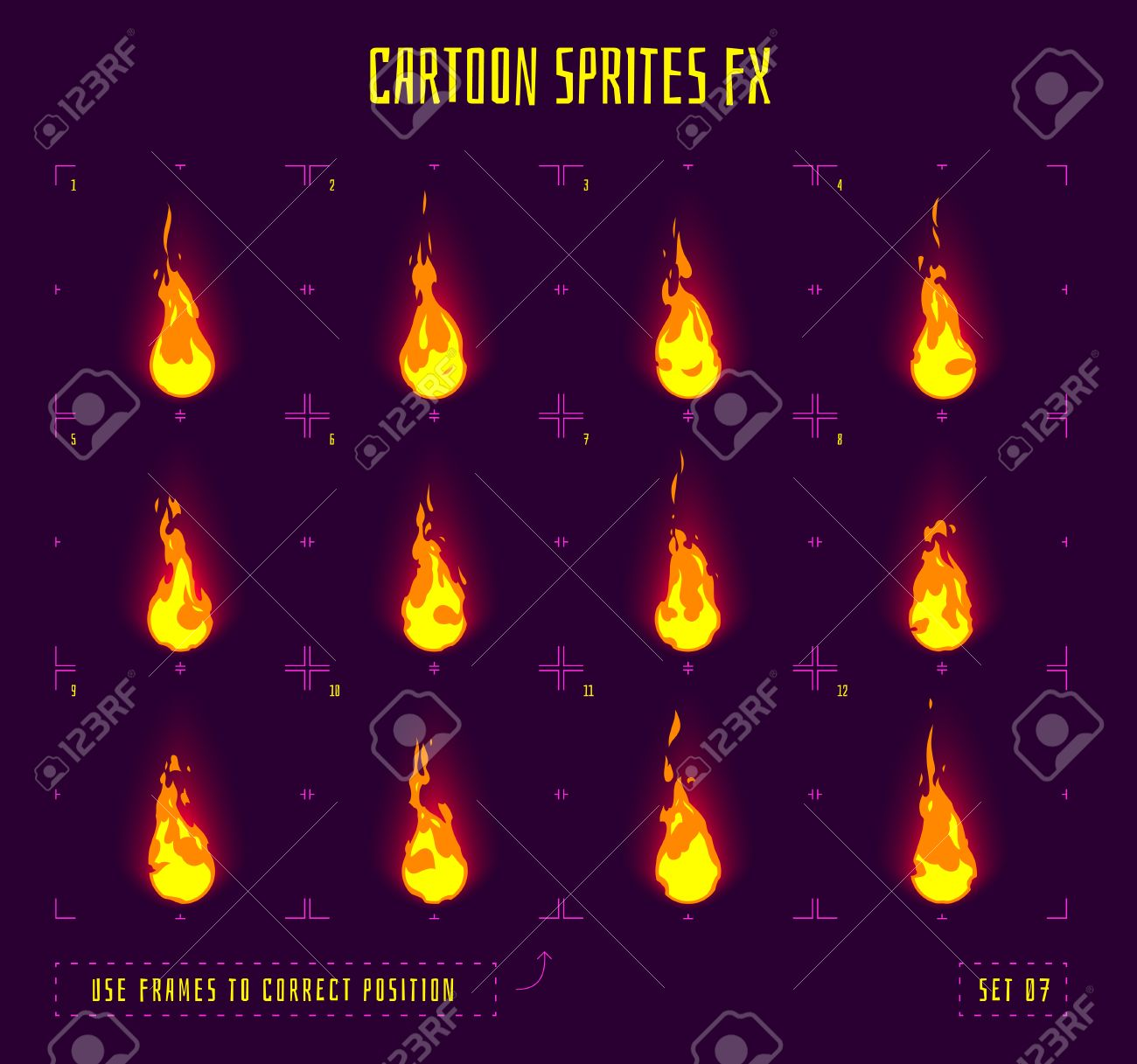 Fire sprites or animation frames icons. Use in game development, mobile games or motion graphic. Vector illustration. - 58783158