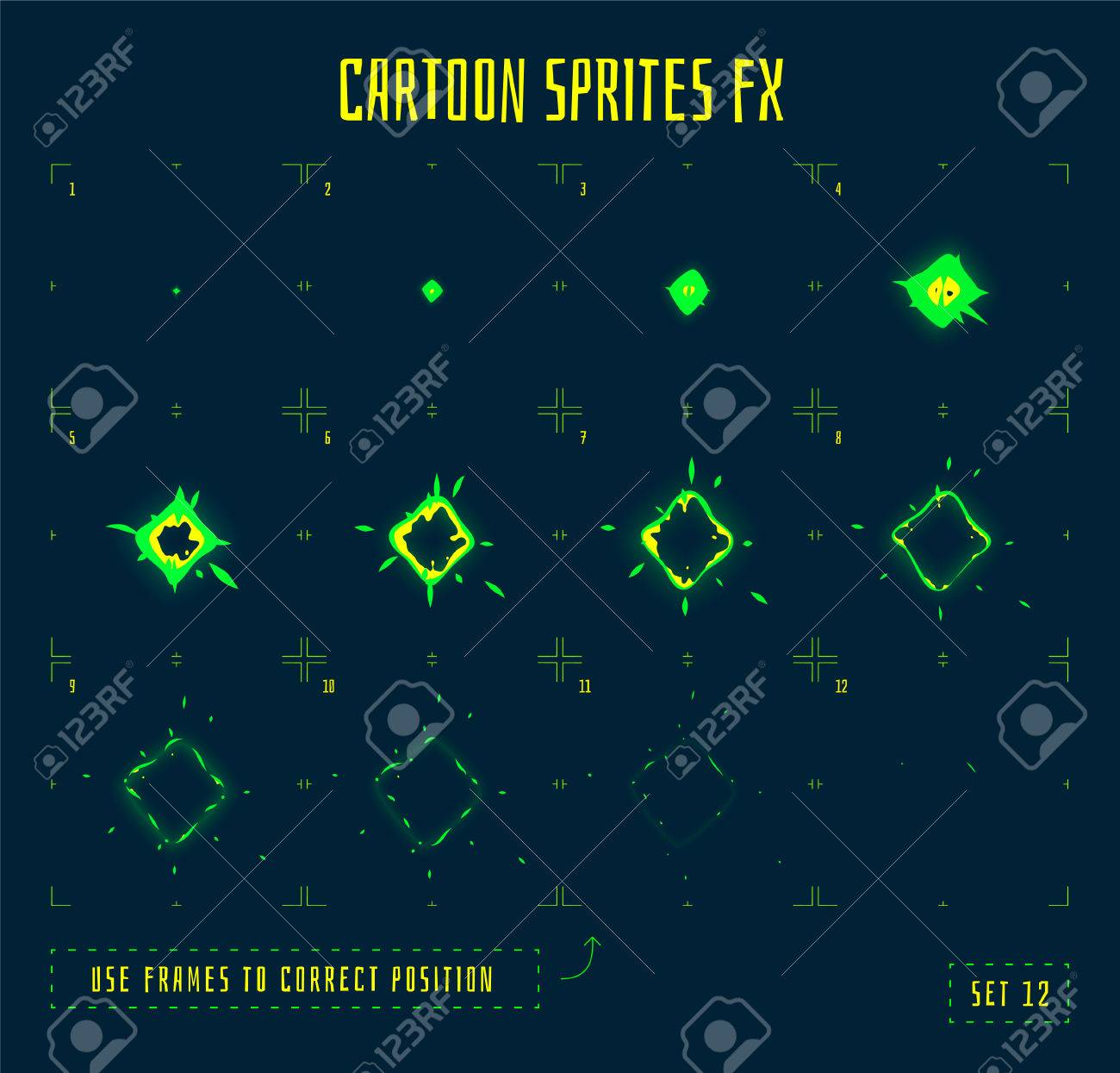 Energy explosion sprites or animation frames icons. Use in game development, mobile games or motion graphic. Vector illustration. - 58783164