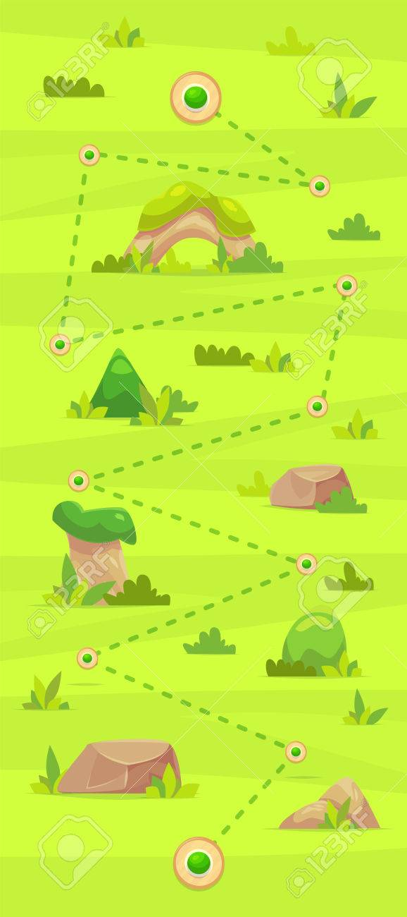 Cartoon game map for casual games. Graphic user interface, vector illustration. - 69725588