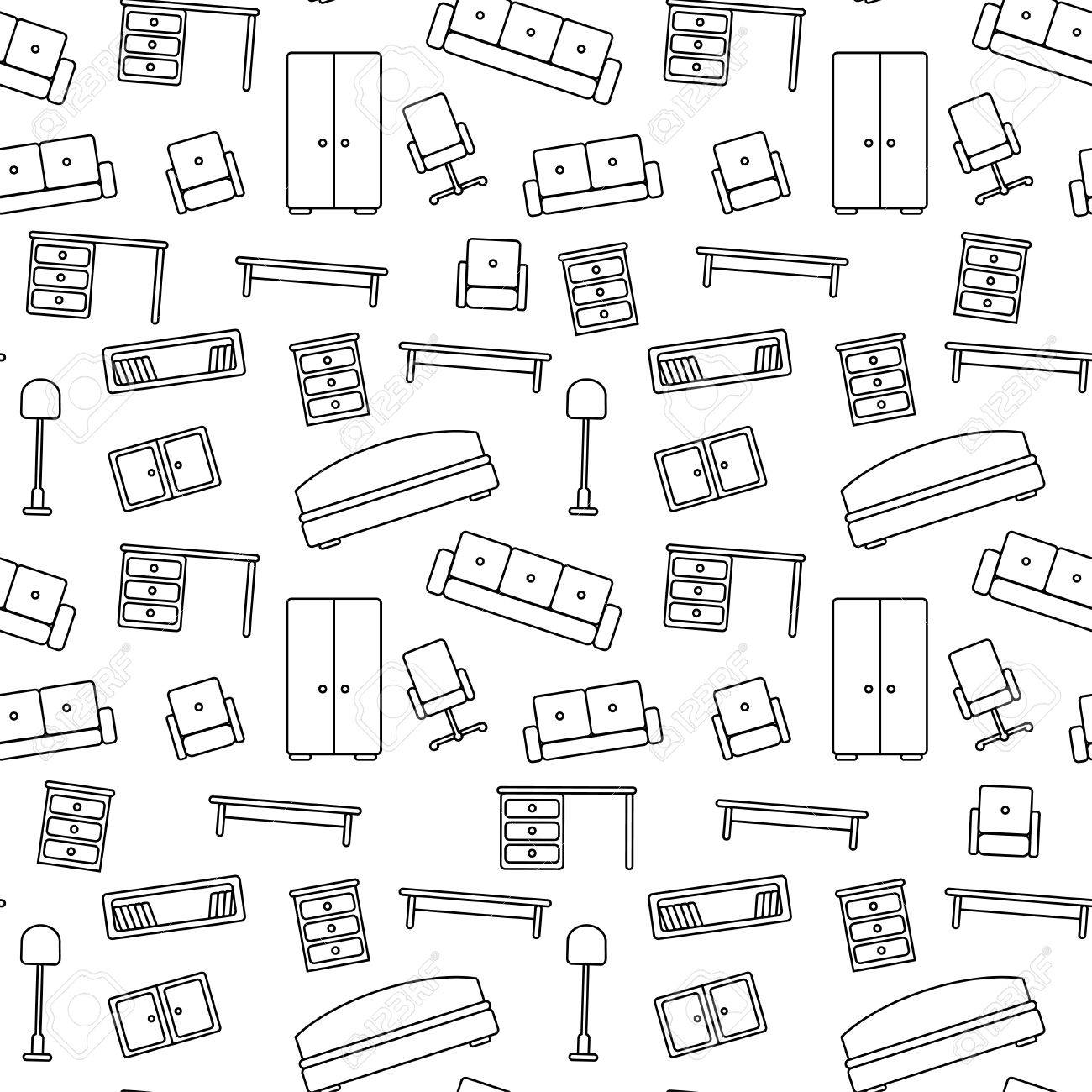 pattern furniture. Seamless Pattern Of Furniture Beautiful Background Vector Illustration Endless Texture Can Be Used For Printing Onto