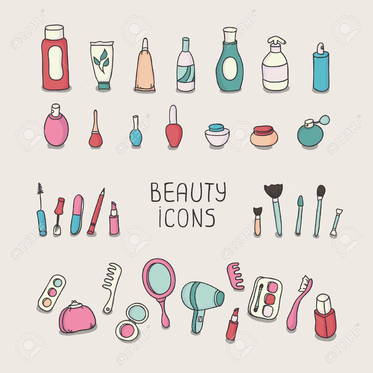 ビンテージ化粧品と美容製品アイコン化粧ベクトル イラストのセットの
