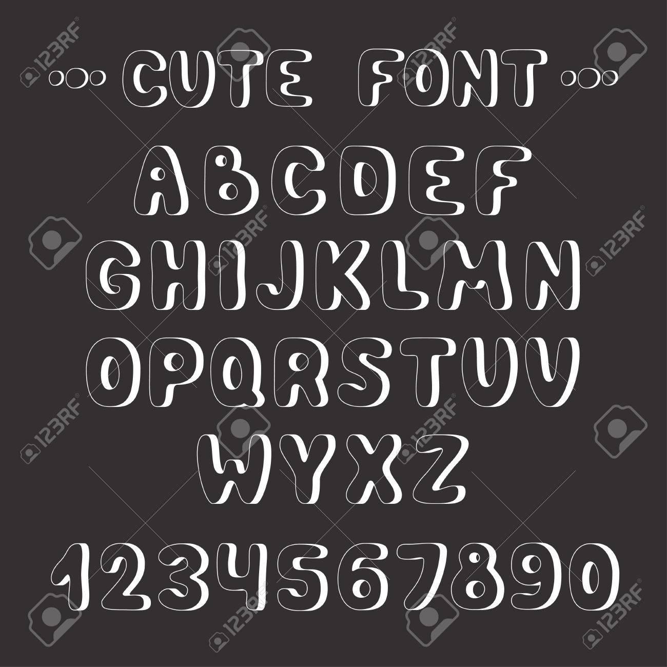 Simple monochrome hand drawn font  Complete abc alphabet set