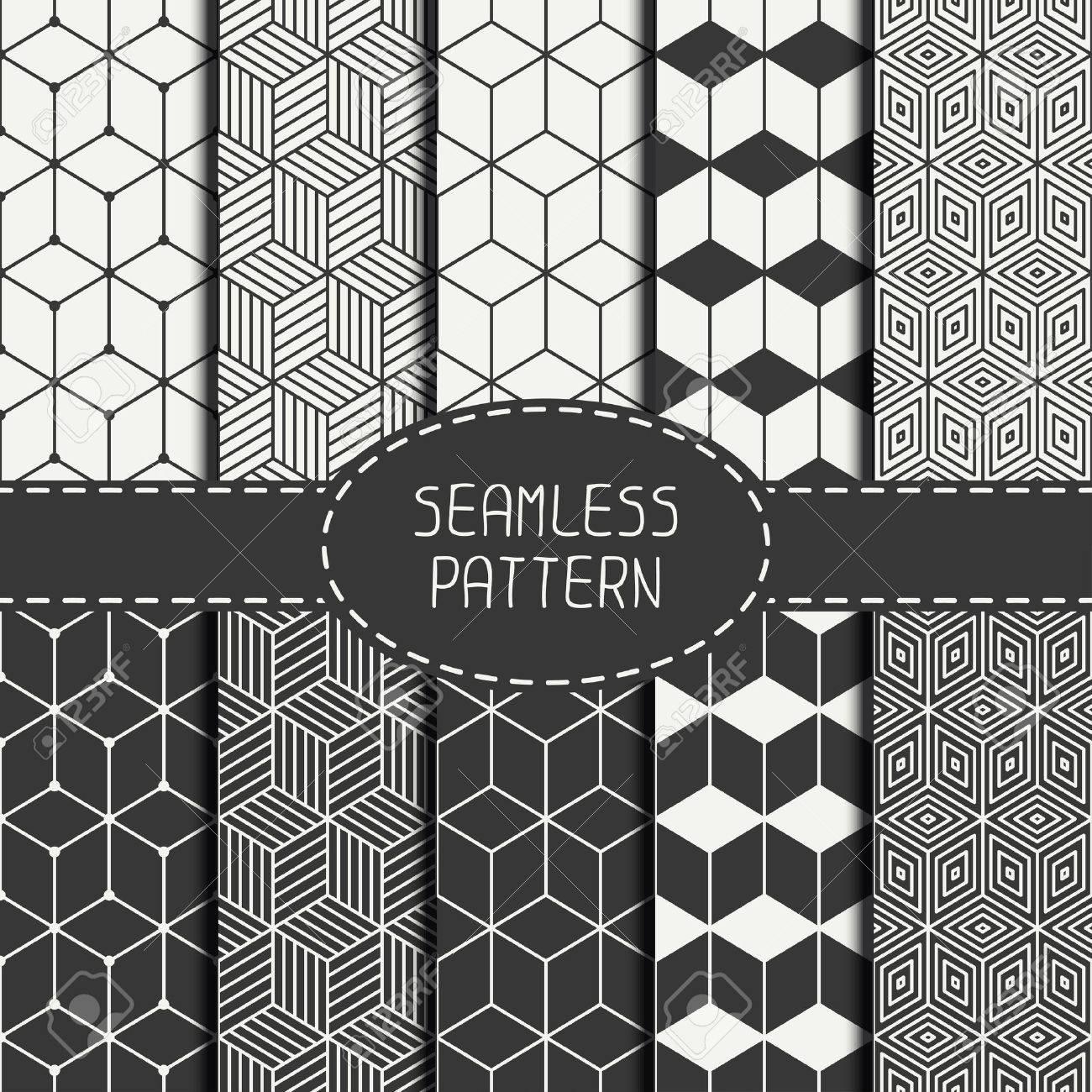Ensemble De Dessin Abstrait Géométrique Du Cube Transparent Avec Des Losanges Papier Cadeau Papier Pour Scrapbook Carrelage Vector Illustration