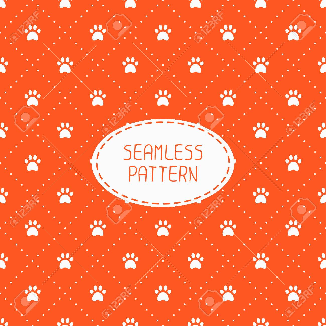 Seamless Pattern With Animal Footprints Cat Dog Wrapping Paper For Scrapbook
