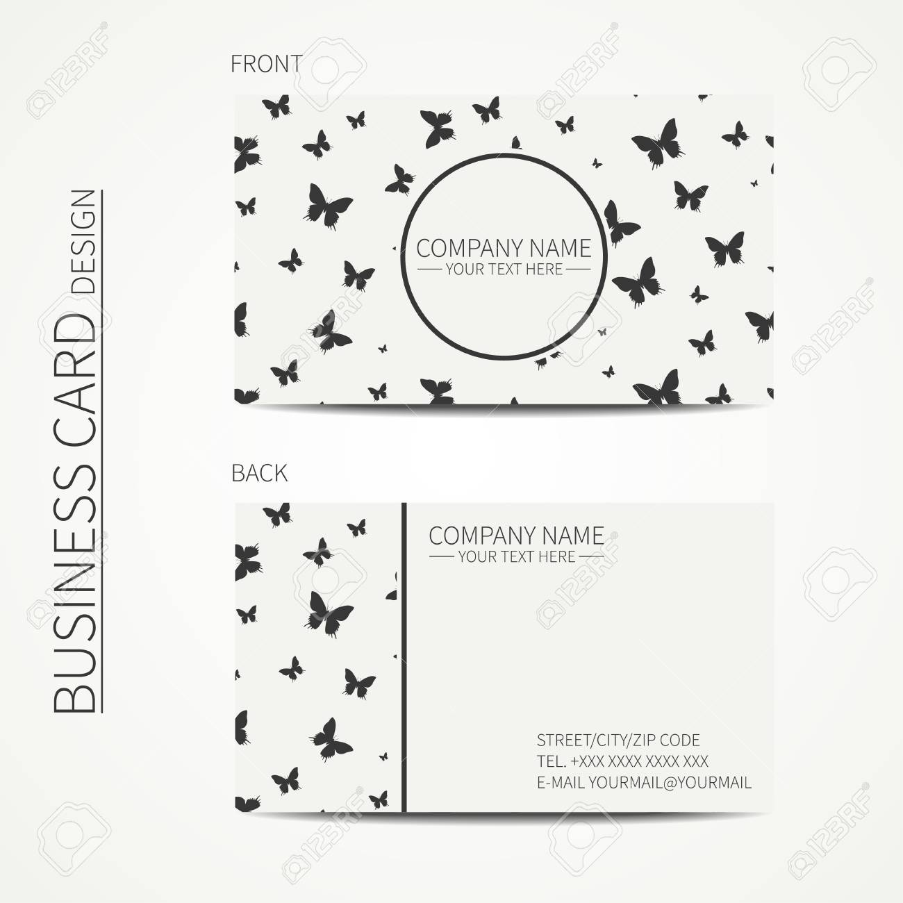 vector vector simple business card design template black and white business card for corporate business and personal use calling card - Simple Business Card Design