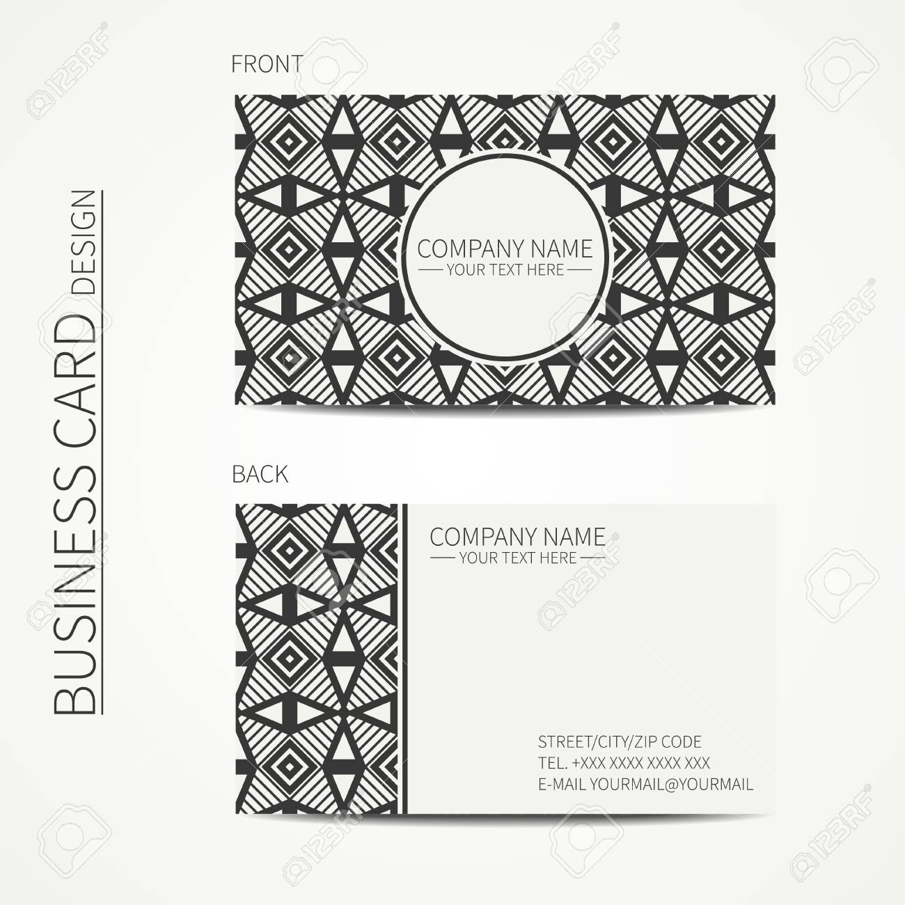 Vector Simple Business Card Design. Template. Black And White ...