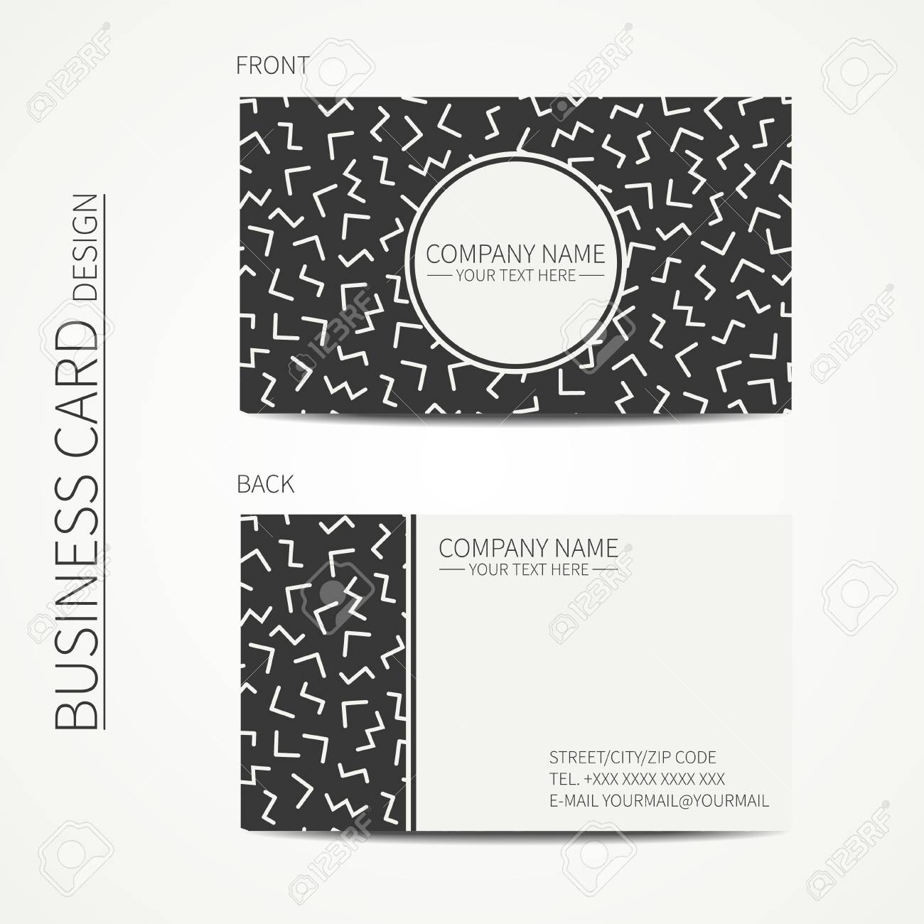 Simple Business Card Design. Memphis Style. Template. Black And ...