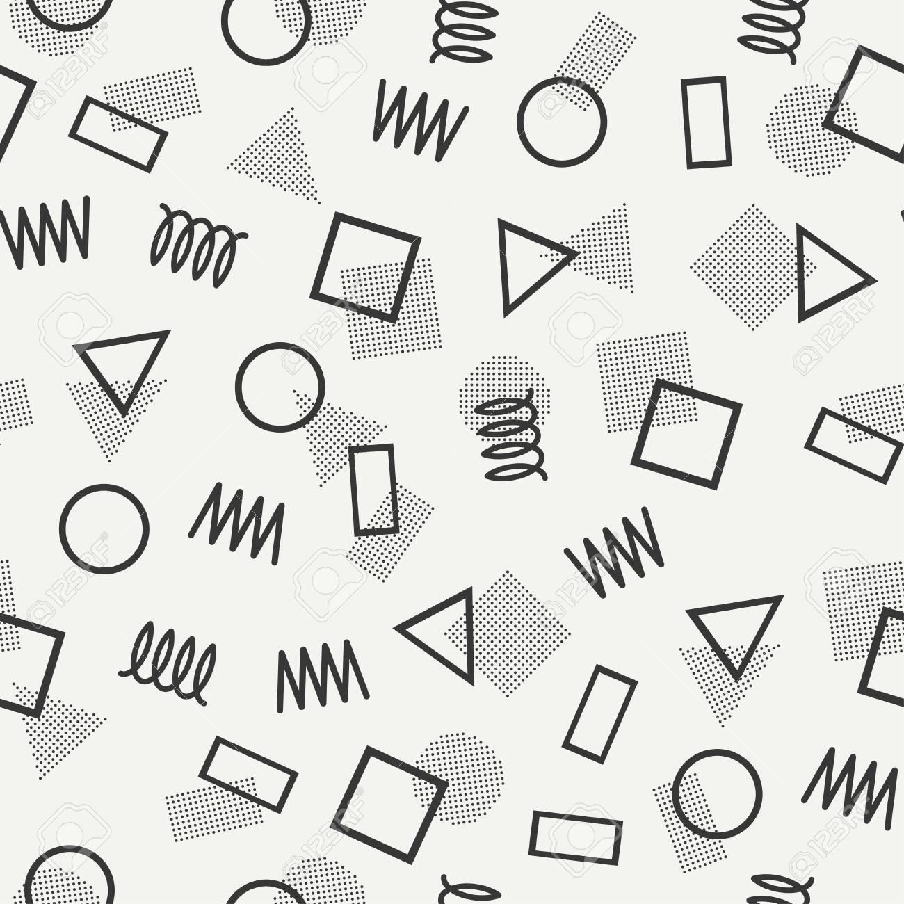 Retro Memphis Línea De Formas Geométricas Patrones De Costura. La ...